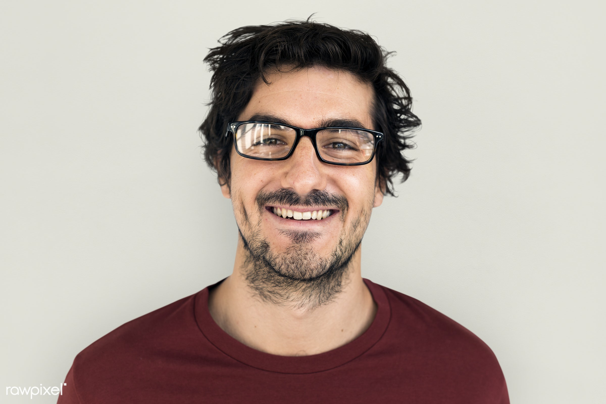 expression, studio, person, glasses, people, caucasian, happy, casual, cheerful, smiling, man, isolated, guy, male, candid,...