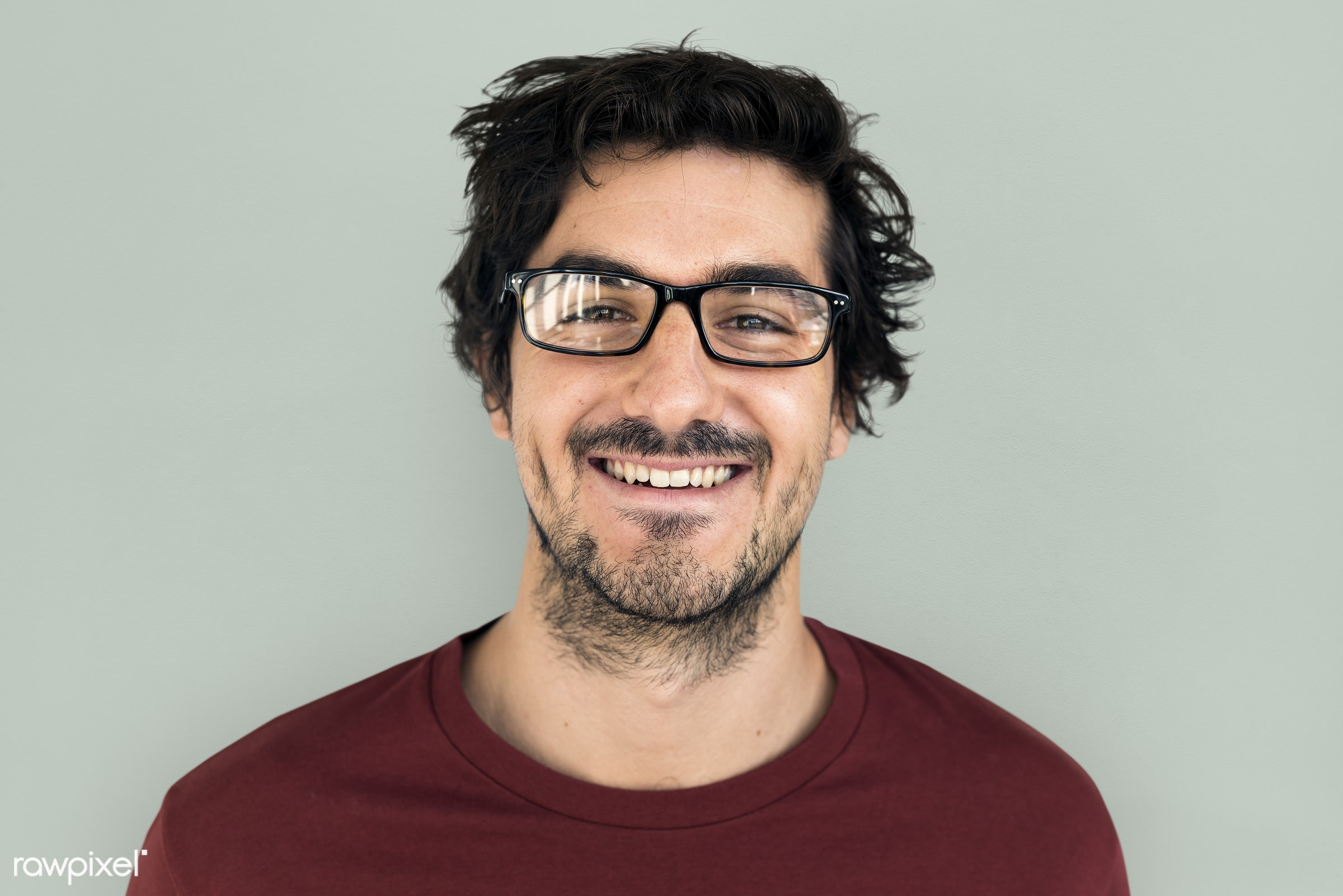 Portrait of happy South American man - studio, expression, person, people, caucasian, cheerful, smiling, isolated, laugh,...