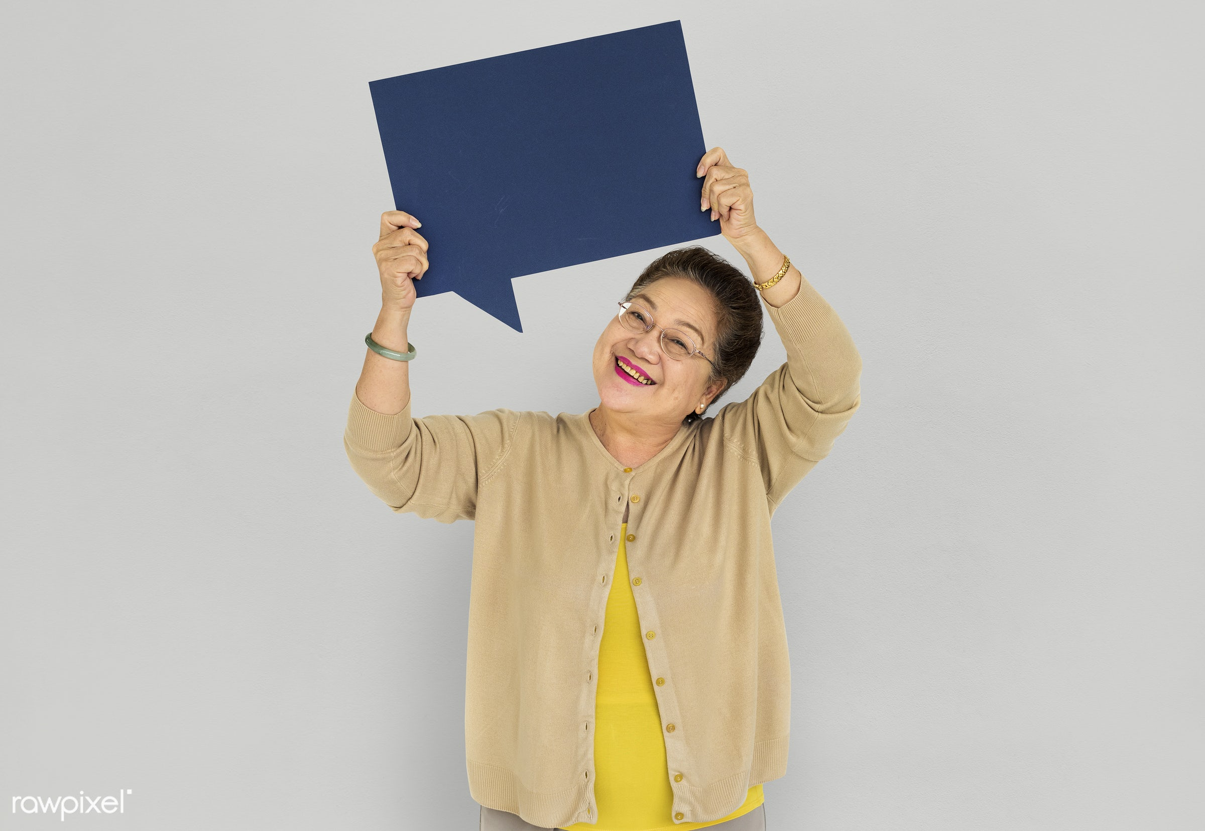 studio, expression, person, old, holding, hilarious, people, woman, speech bubble, happy, casual, smiling, isolated, candid...