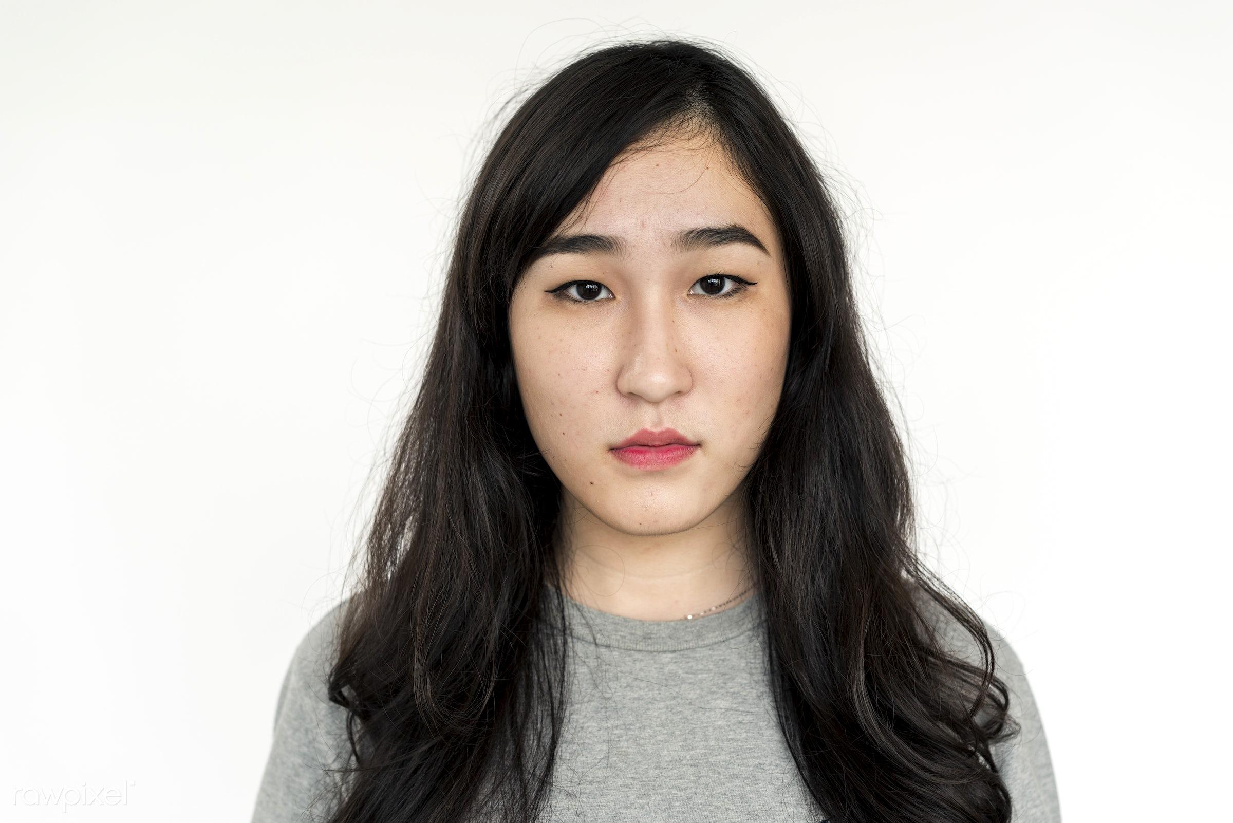 expression, studio, face, person, single, sadness, isolated on white, sad, bored, asian ethnicity, style, upset, woman,...