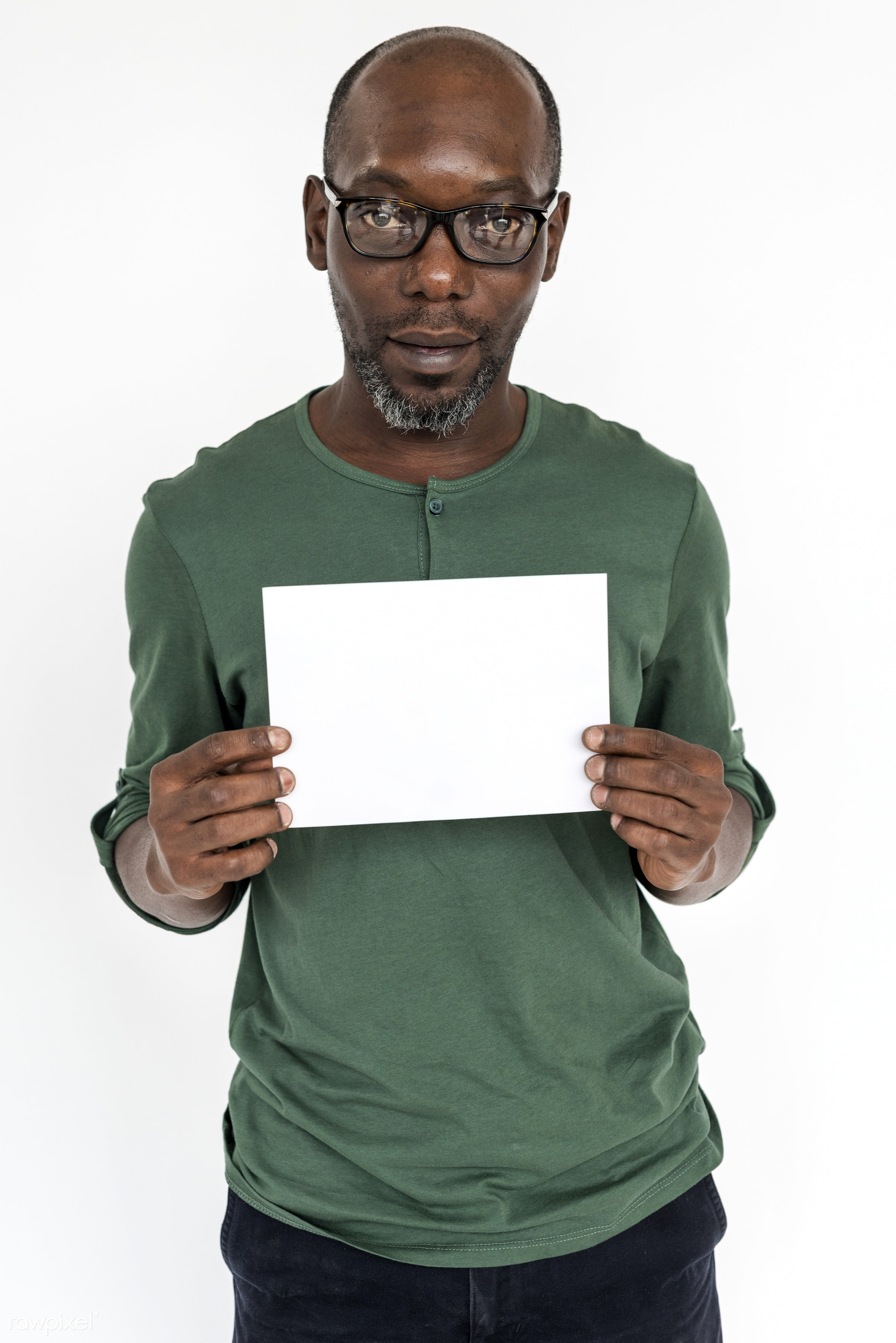 studio, expression, person, holding, copyspace, isolated on white, advertising, people, placard, casual, empty, man, banner...