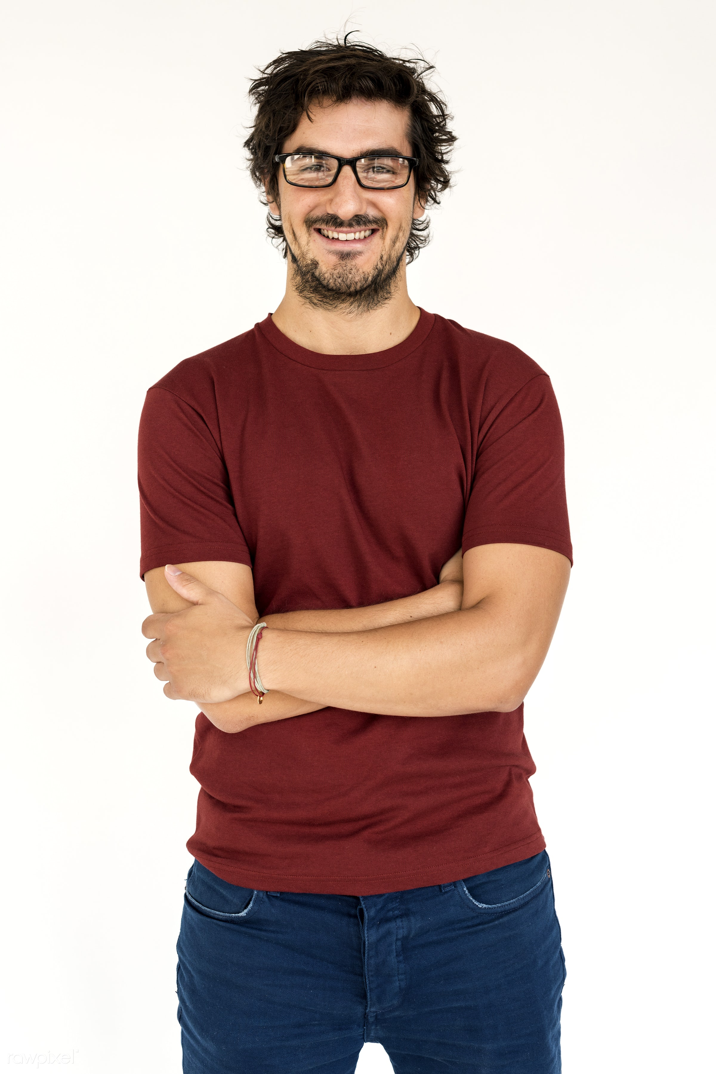 expression, studio, person, glasses, isolated on white, people, caucasian, happy, casual, cheerful, smiling, man, isolated,...