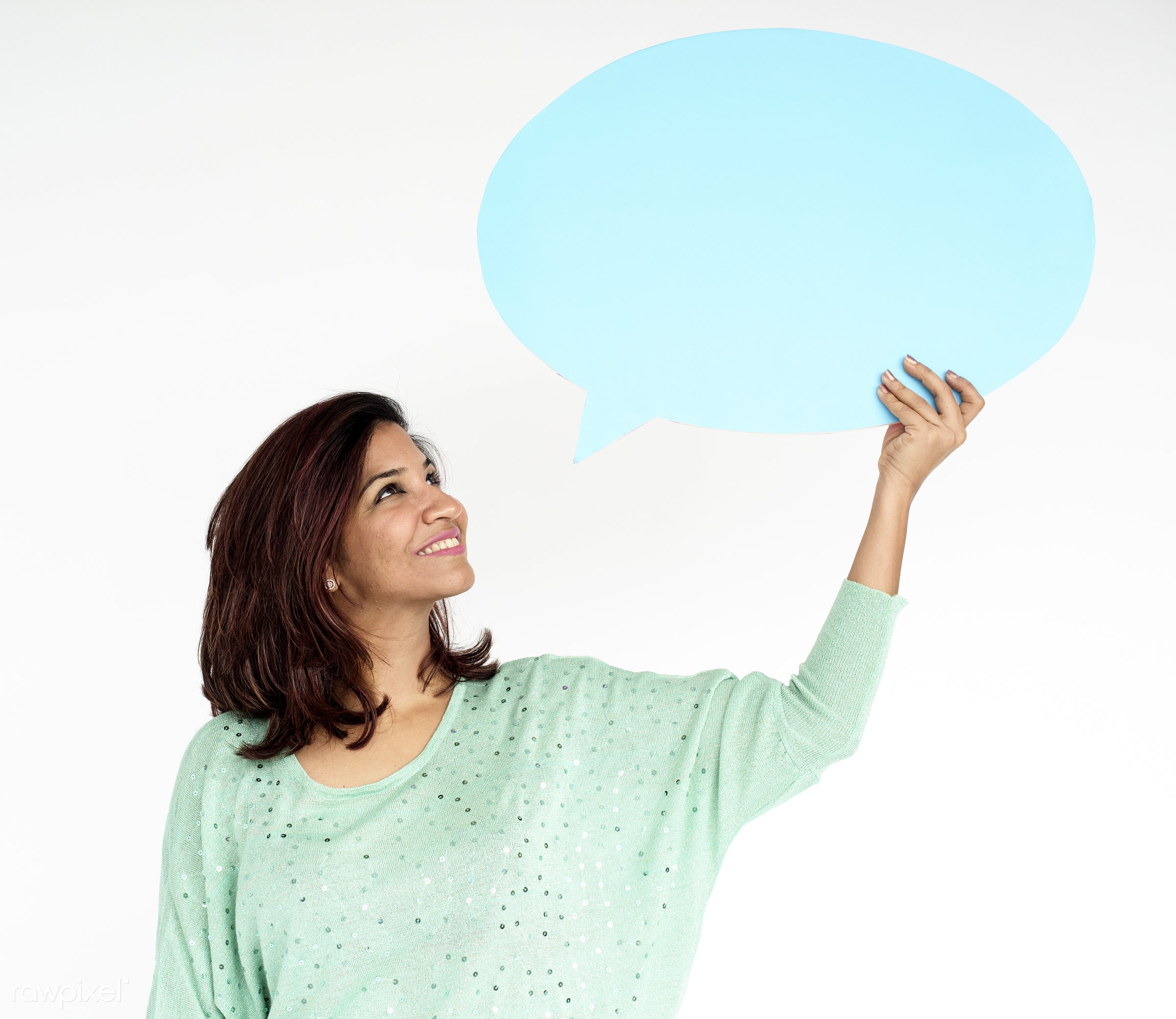 studio, expression, person, holding, isolated on white, indian ethnicity, people, woman, speech bubble, casual, smiling,...