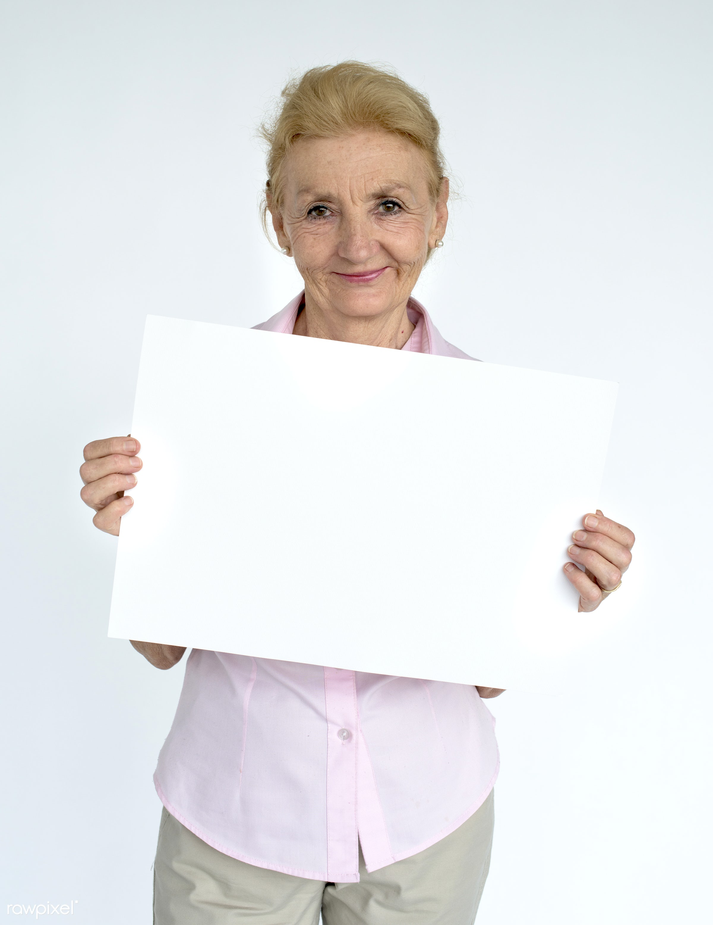 studio, expression, person, old, holding, copyspace, isolated on white, advertising, people, caucasian, placard, woman,...