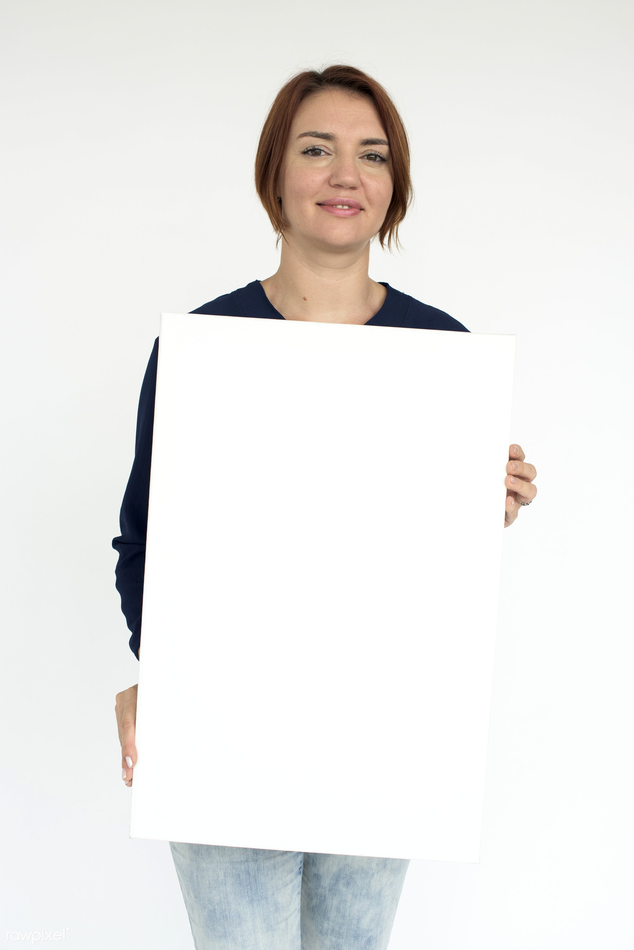 studio, expression, person, holding, copyspace, isolated on white, advertising, people, caucasian, placard, woman, casual,...
