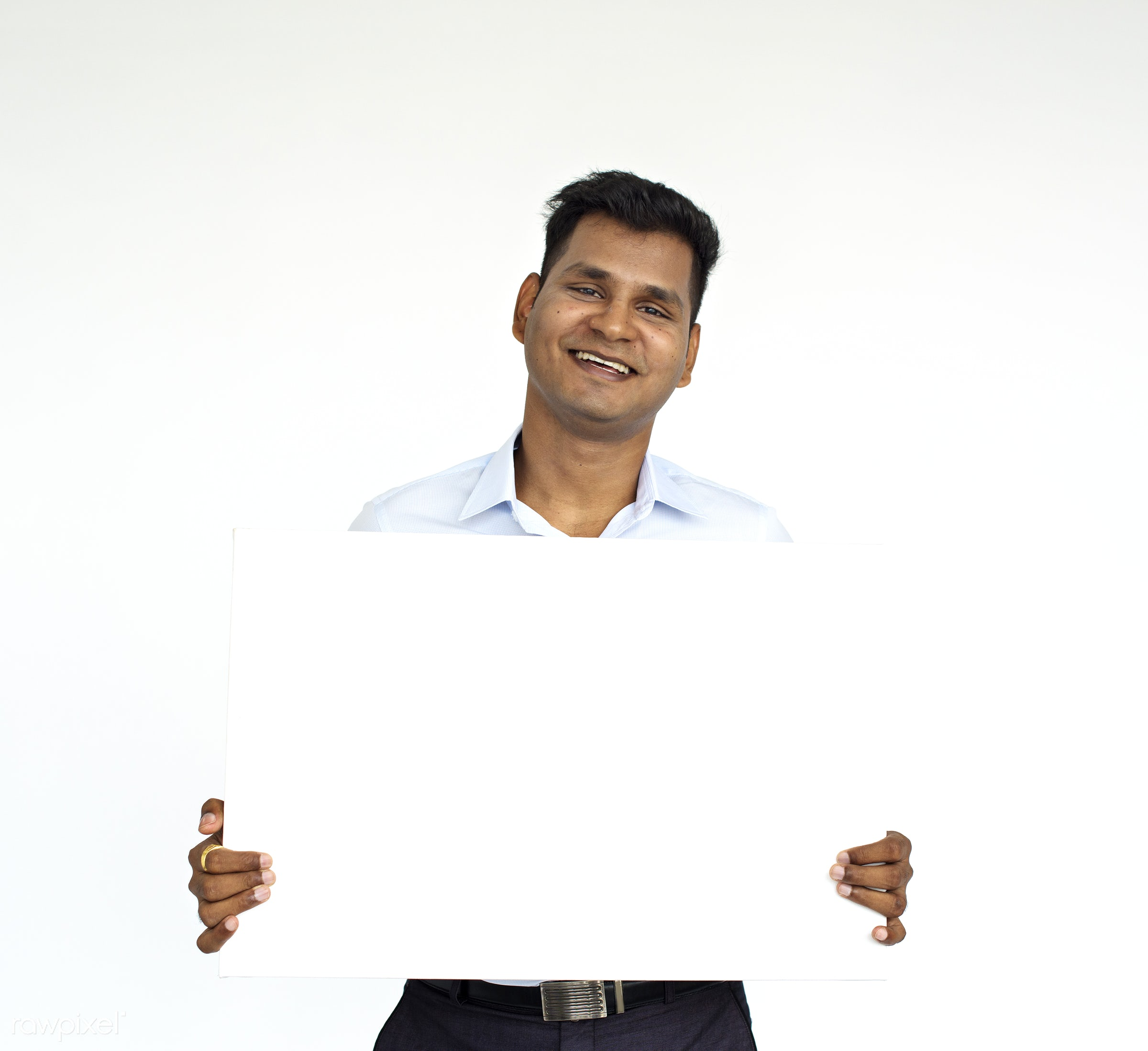 studio, expression, person, holding, copyspace, isolated on white, indian ethnicity, advertising, people, placard, casual,...