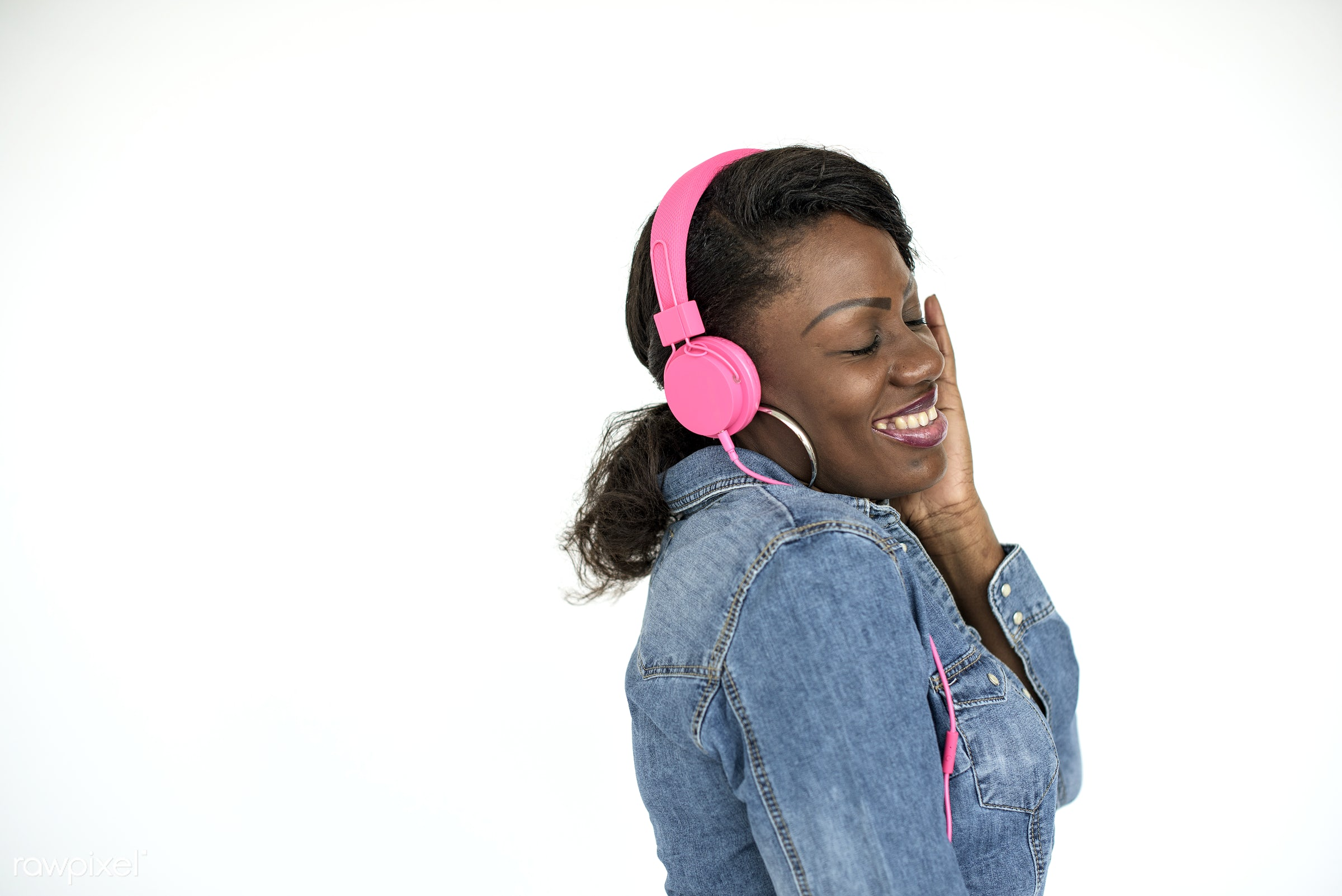 studio, expression, person, joy, isolated on white, people, girl, woman, happy, casual, cheerful, earrings, music, isolated...