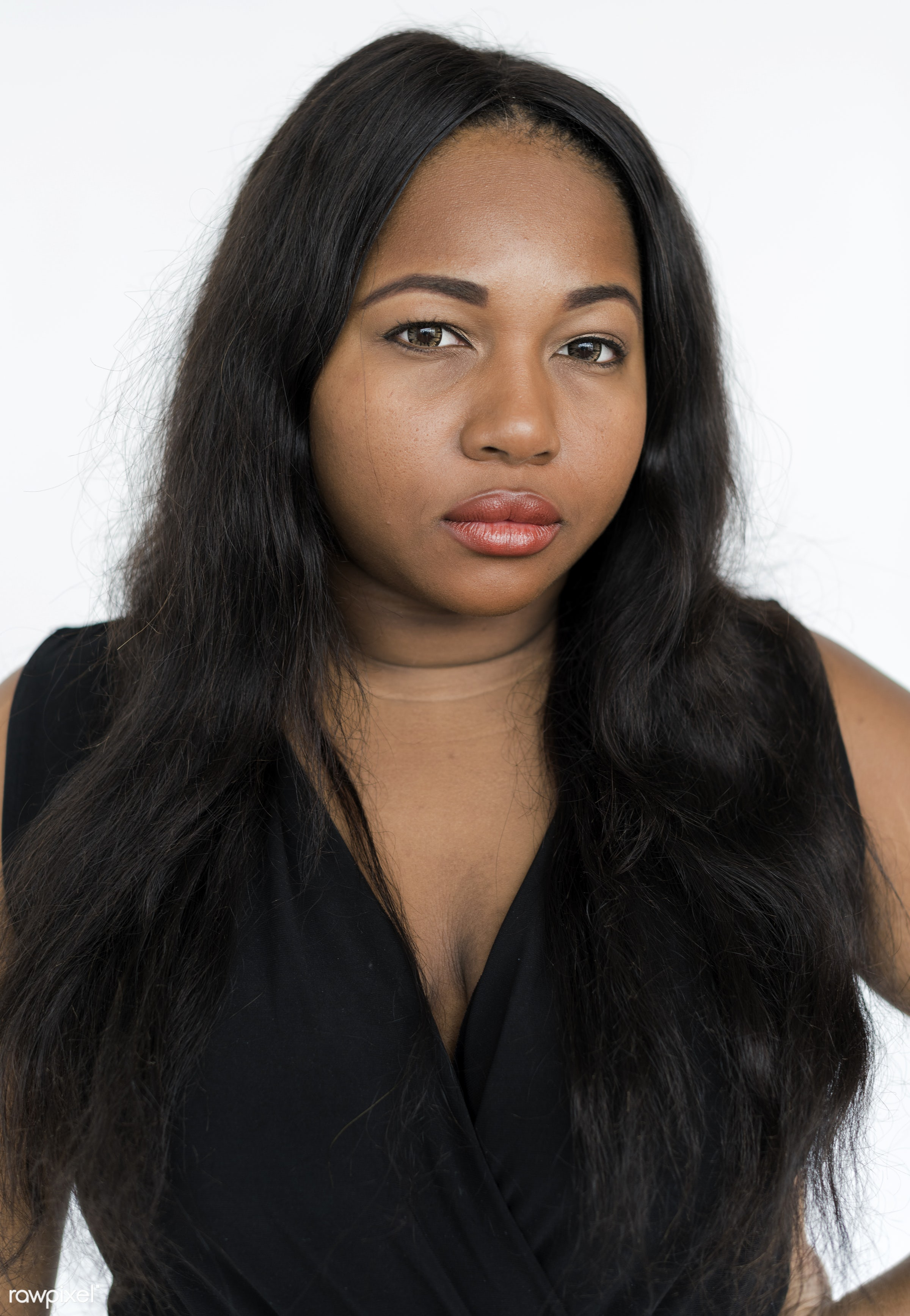 studio, expression, person, single, sad, chubby, woman, alone, serious, unhappy, thoughts, african descent, stress,...