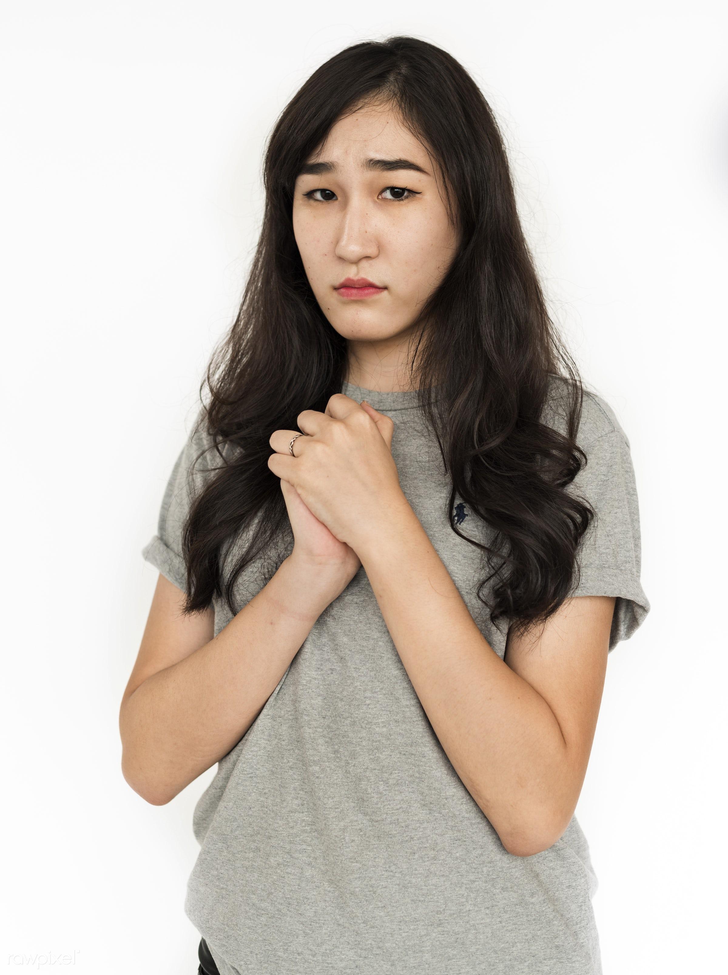 expression, studio, face, person, single, sadness, wish, sad, isolated on white, bored, asian ethnicity, style, upset, woman...
