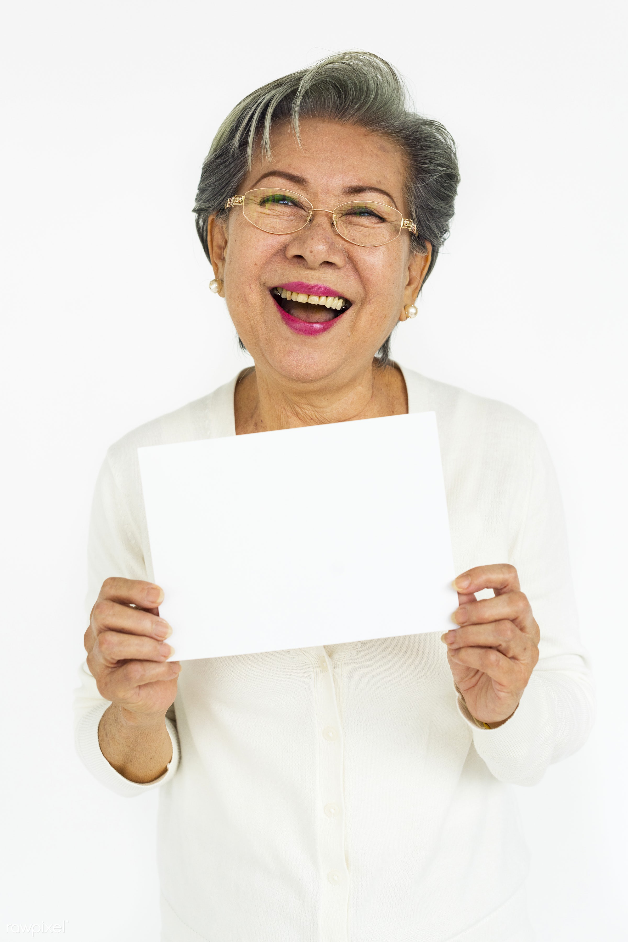 studio, expression, person, old, holding, copyspace, isolated on white, advertising, people, placard, woman, casual, empty,...