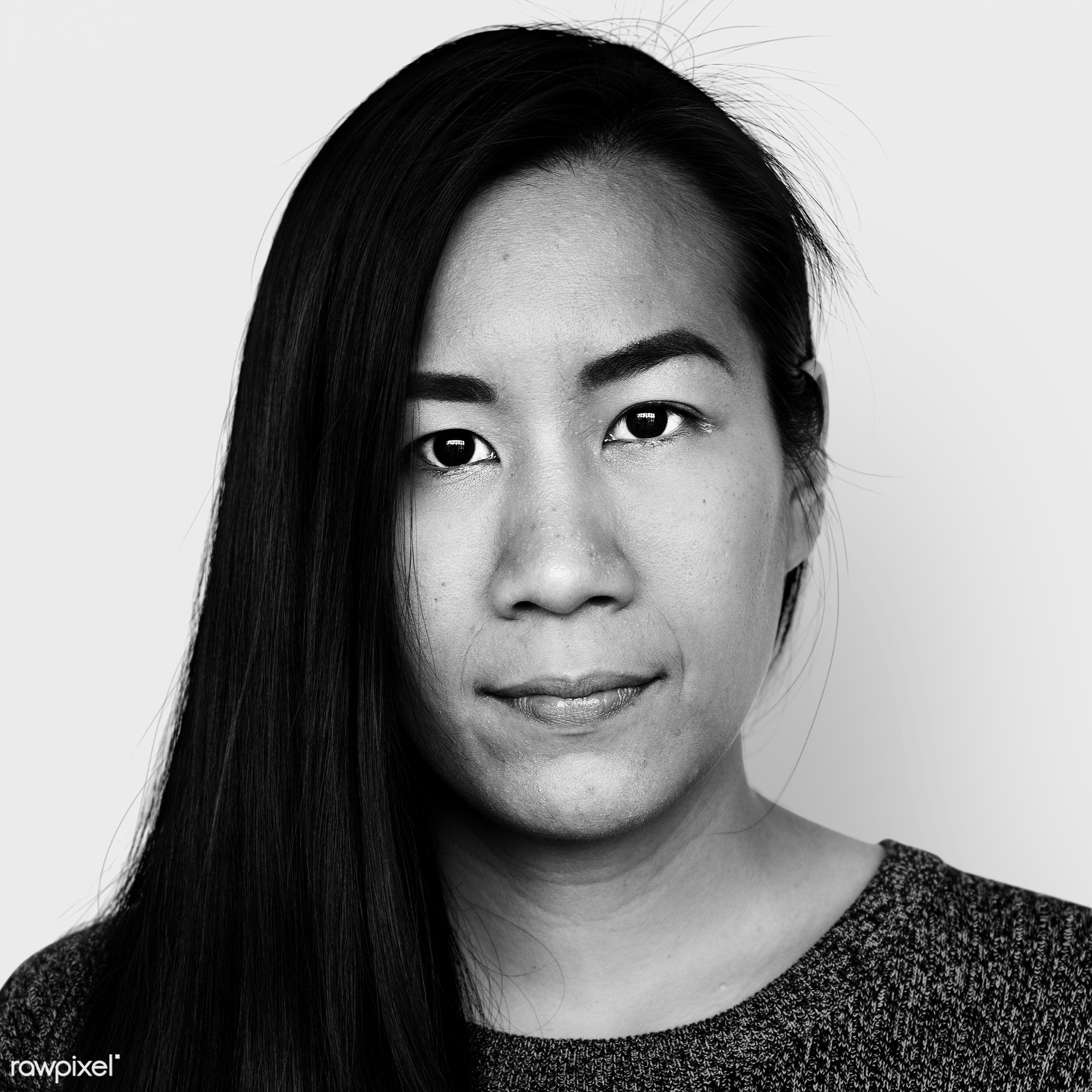 Portrait of a Malaysian woman - alone, asian, black and white, casual, emotion, expression, face, feeling, grayscale,...