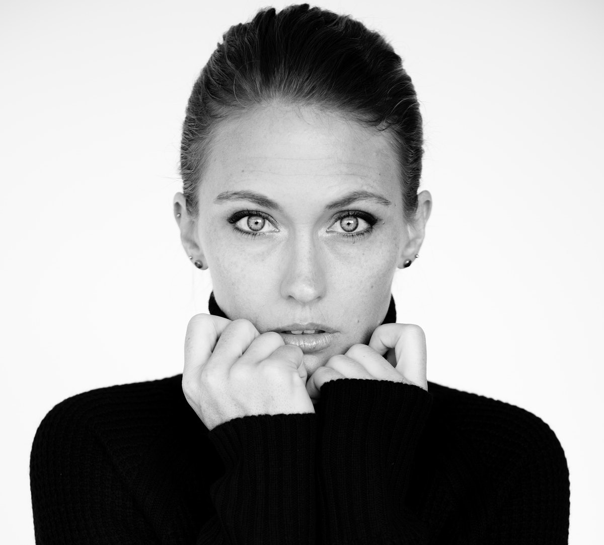 Grayscale of woman headshot serene face expression portrait