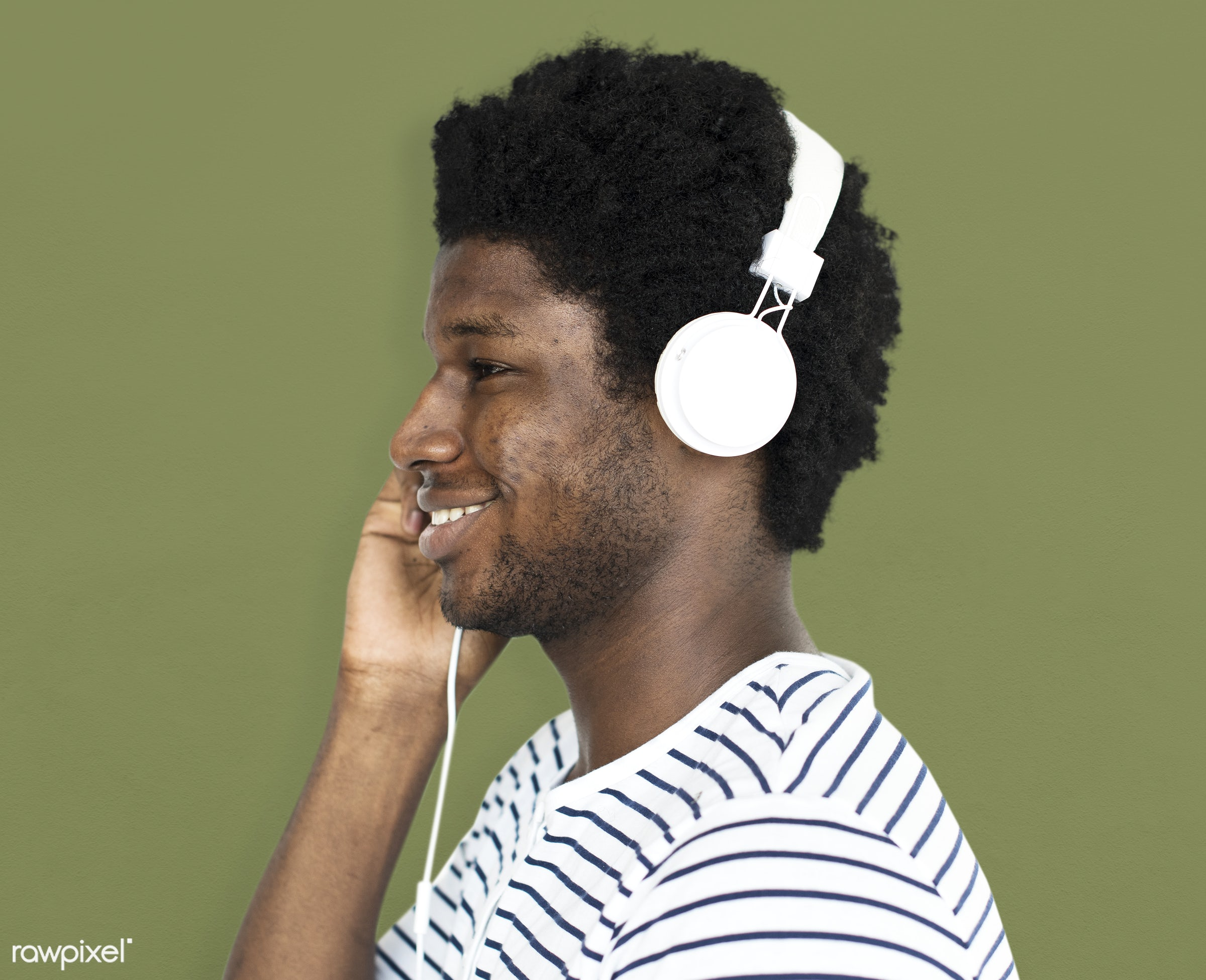 expression, person, technology, recreation, people, headphone, man, activity, black, music, isolated, connection, guy,...