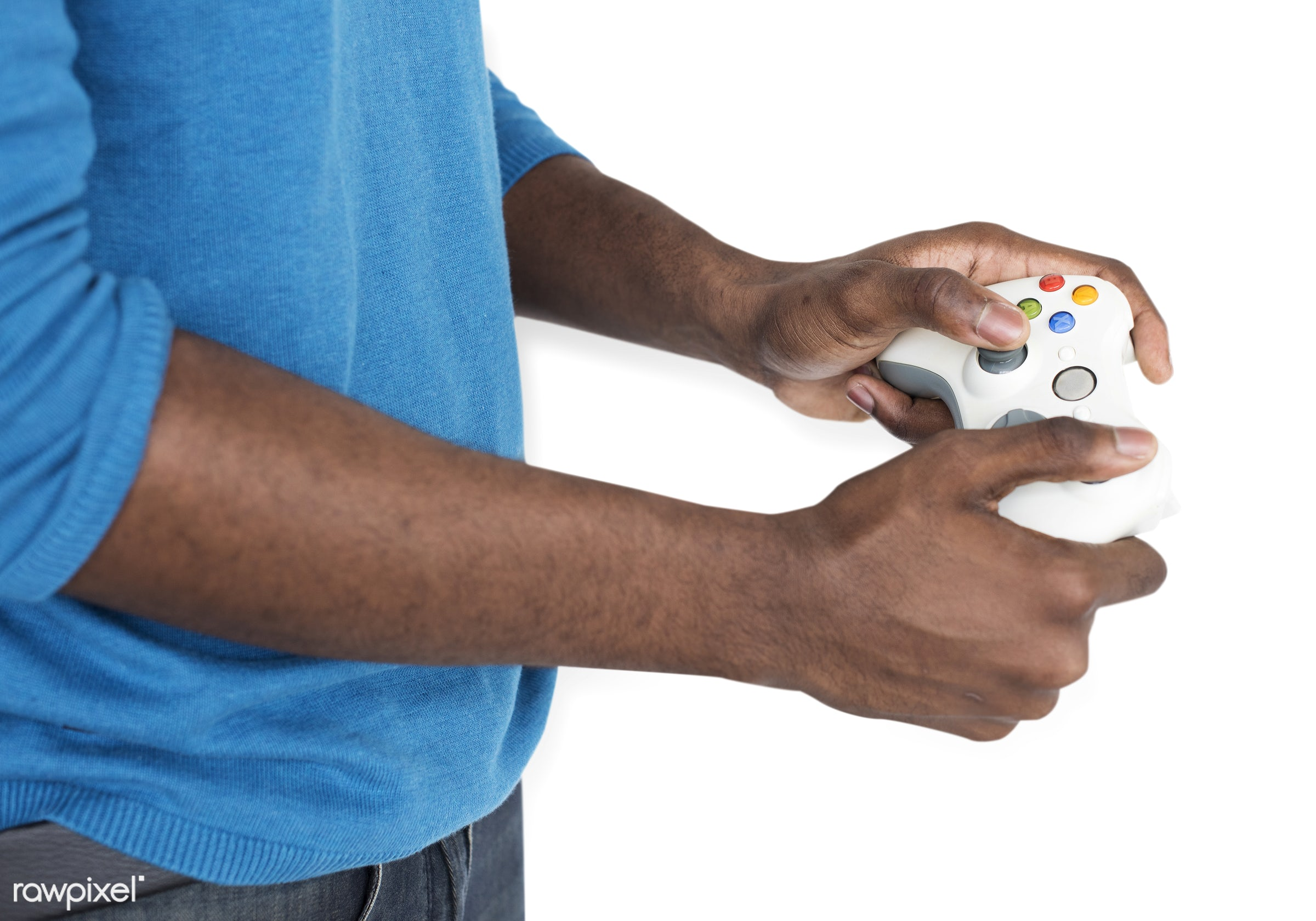 expression, person, technology, gaming, isolated on white, recreation, people, man, activity, black, isolated, connection,...