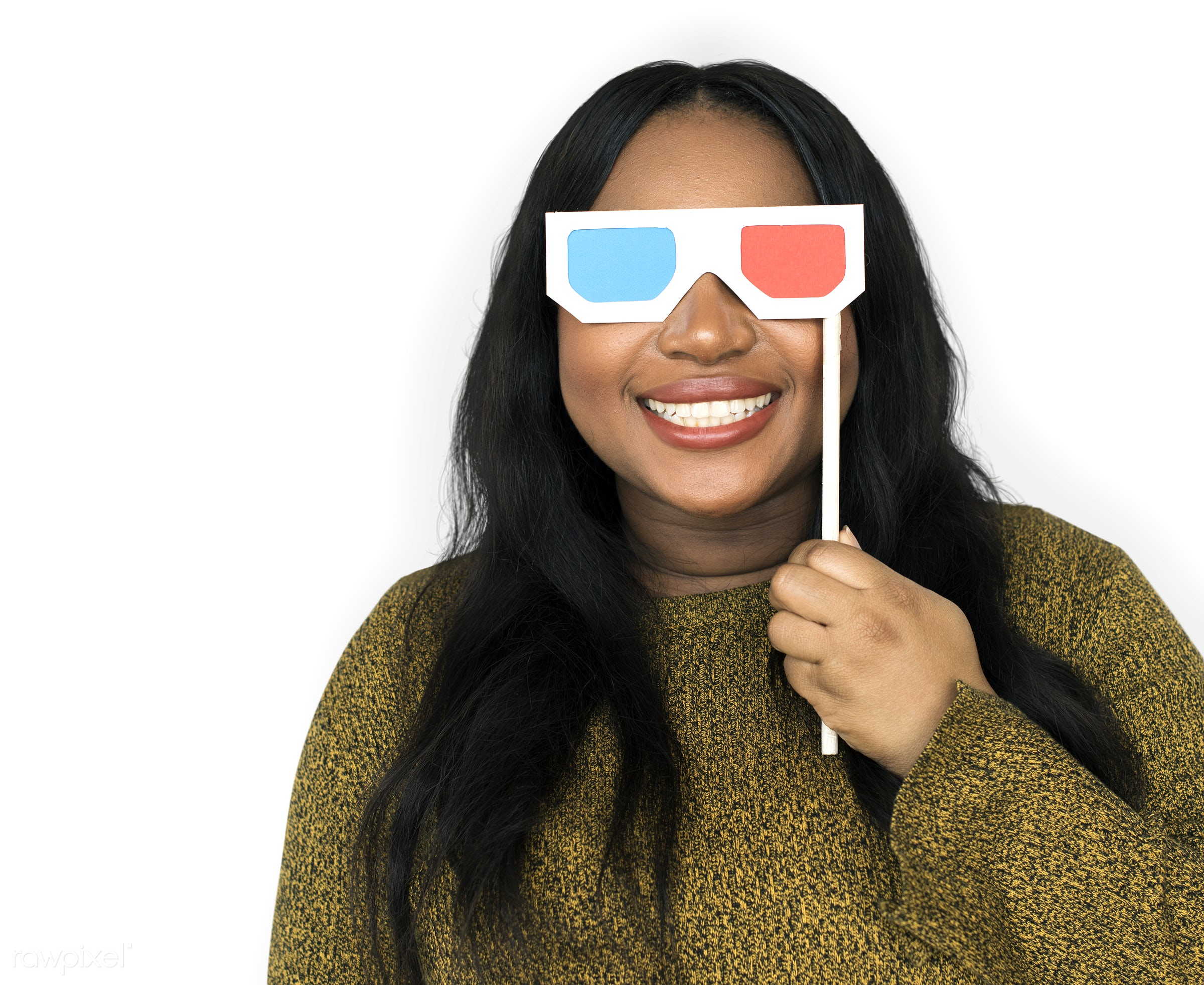 expression, person, isolated on white, recreation, people, race, three dimensional, 3-d glasses, woman, 3d blue ray,...