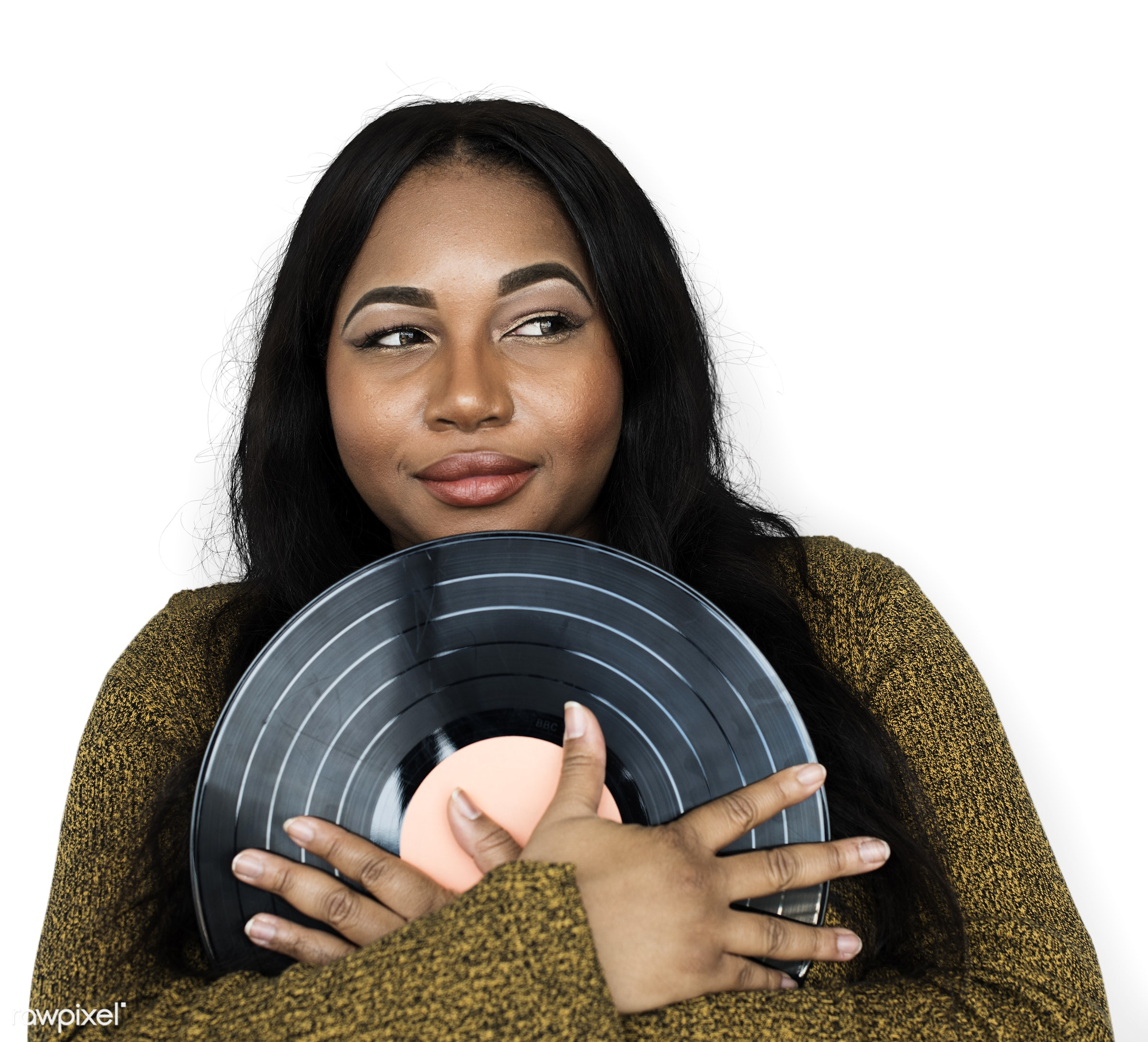 expression, person, isolated on white, retro, recreation, race, people, disc, ancient, woman, vinyl, activity, black, music...