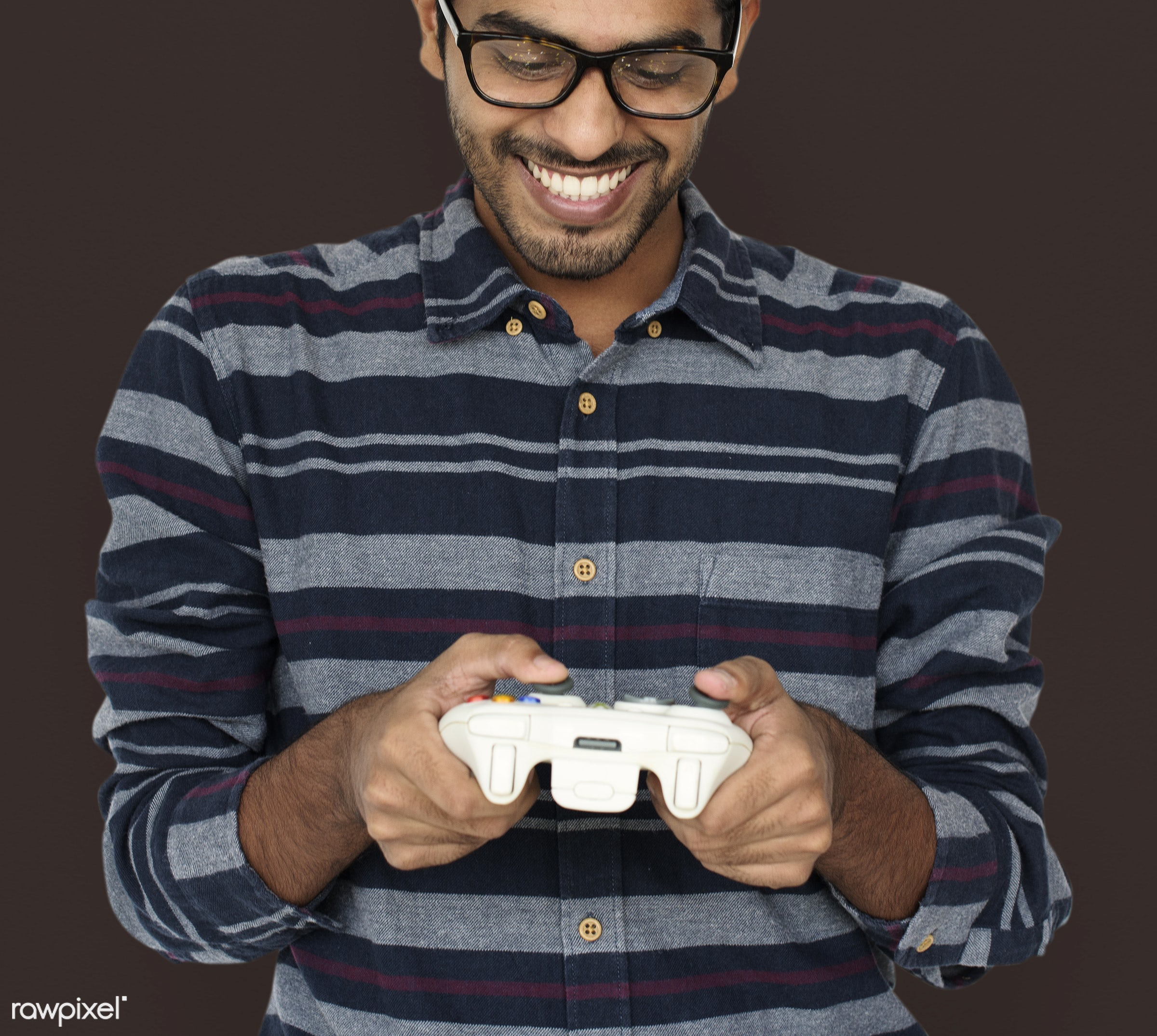 expression, person, technology, gaming, recreation, race, people, man, activity, black, isolated, joystick, connection, game...