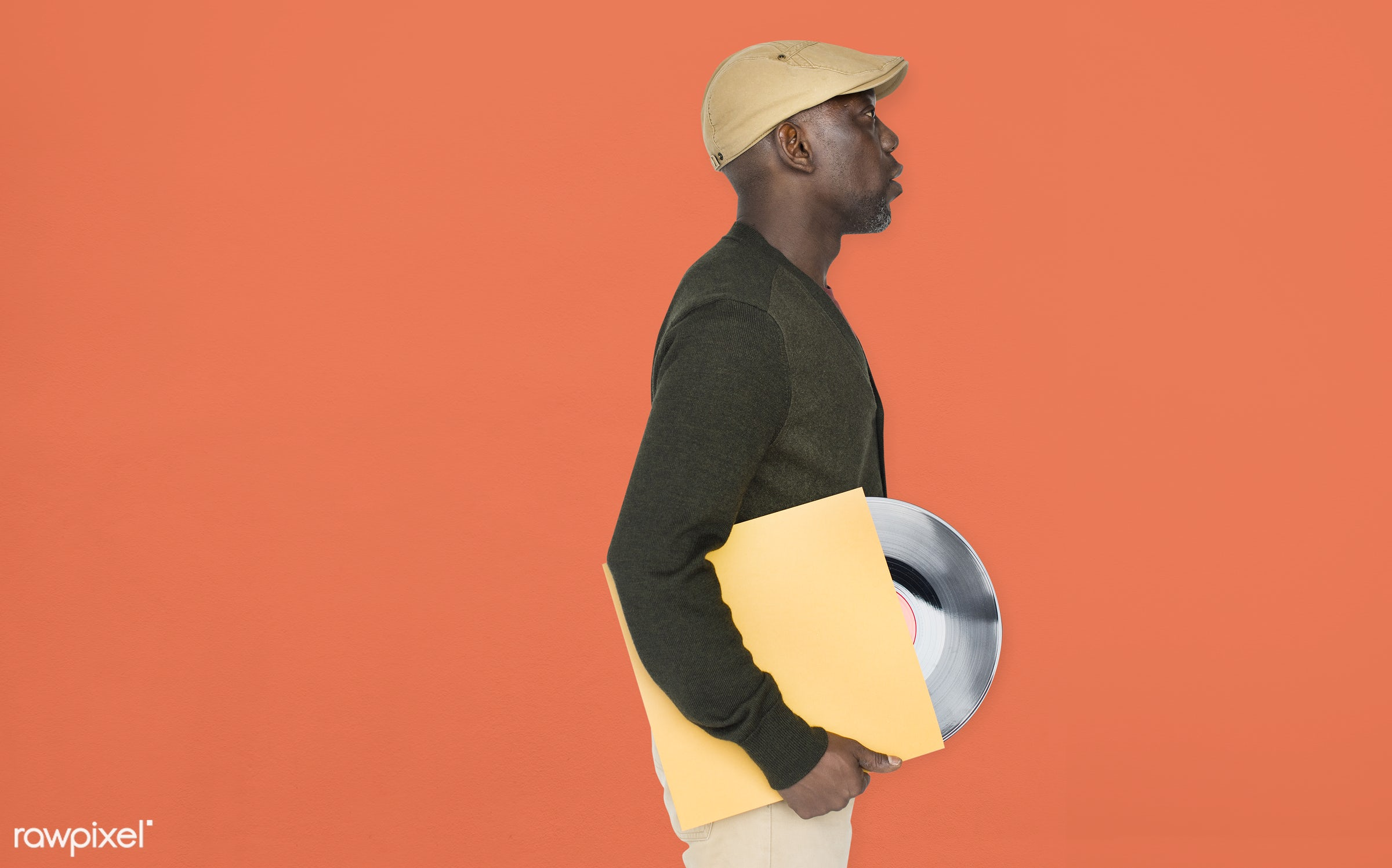 expression, person, retro, recreation, people, race, disc, ancient, vinyl, man, activity, black, music, isolated, guy,...