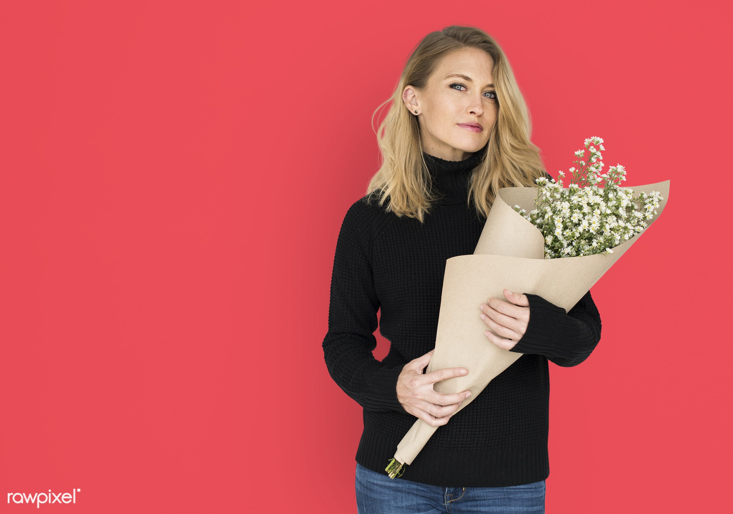 studio, expression, bouquet, person, people, woman, smile, cheerful, smiling, flower, orange, isolated, happiness, portrait...
