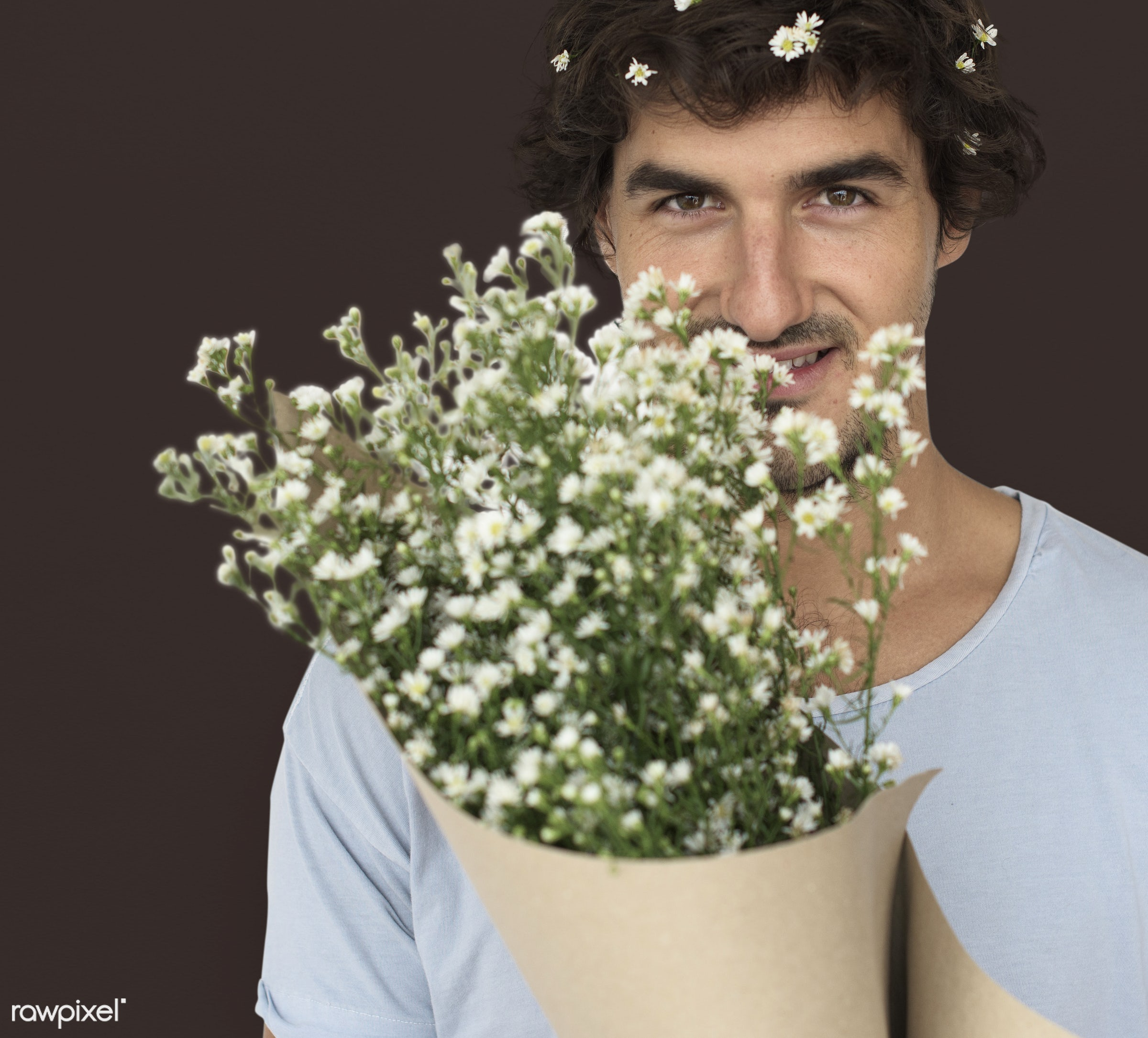 studio, expression, bouquet, person, people, smile, cheerful, flower, smiling, isolated, happiness, portrait, emotion,...