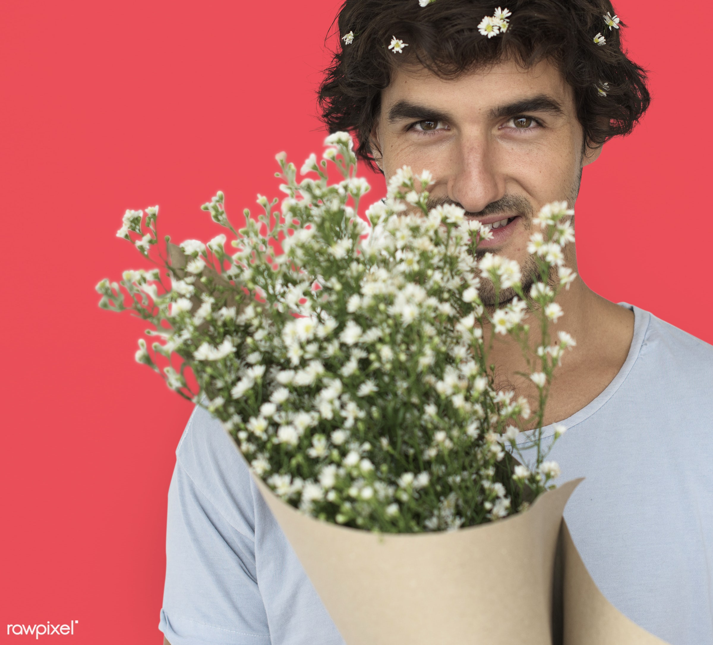 studio, expression, bouquet, person, people, smile, cheerful, flower, smiling, orange, isolated, happiness, portrait,...