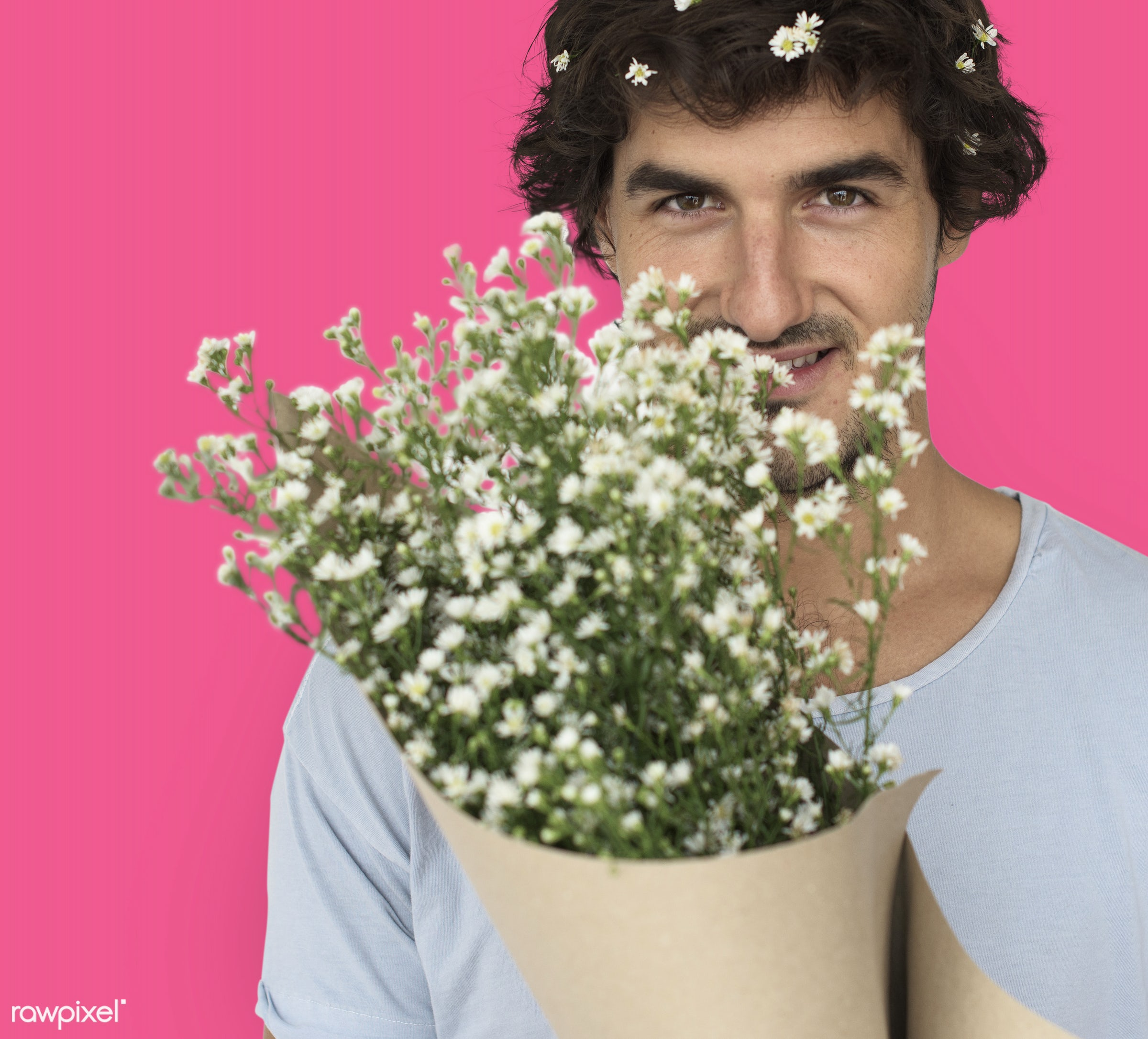 studio, expression, bouquet, person, people, pink, smile, cheerful, smiling, flower, isolated, happiness, portrait, emotion...