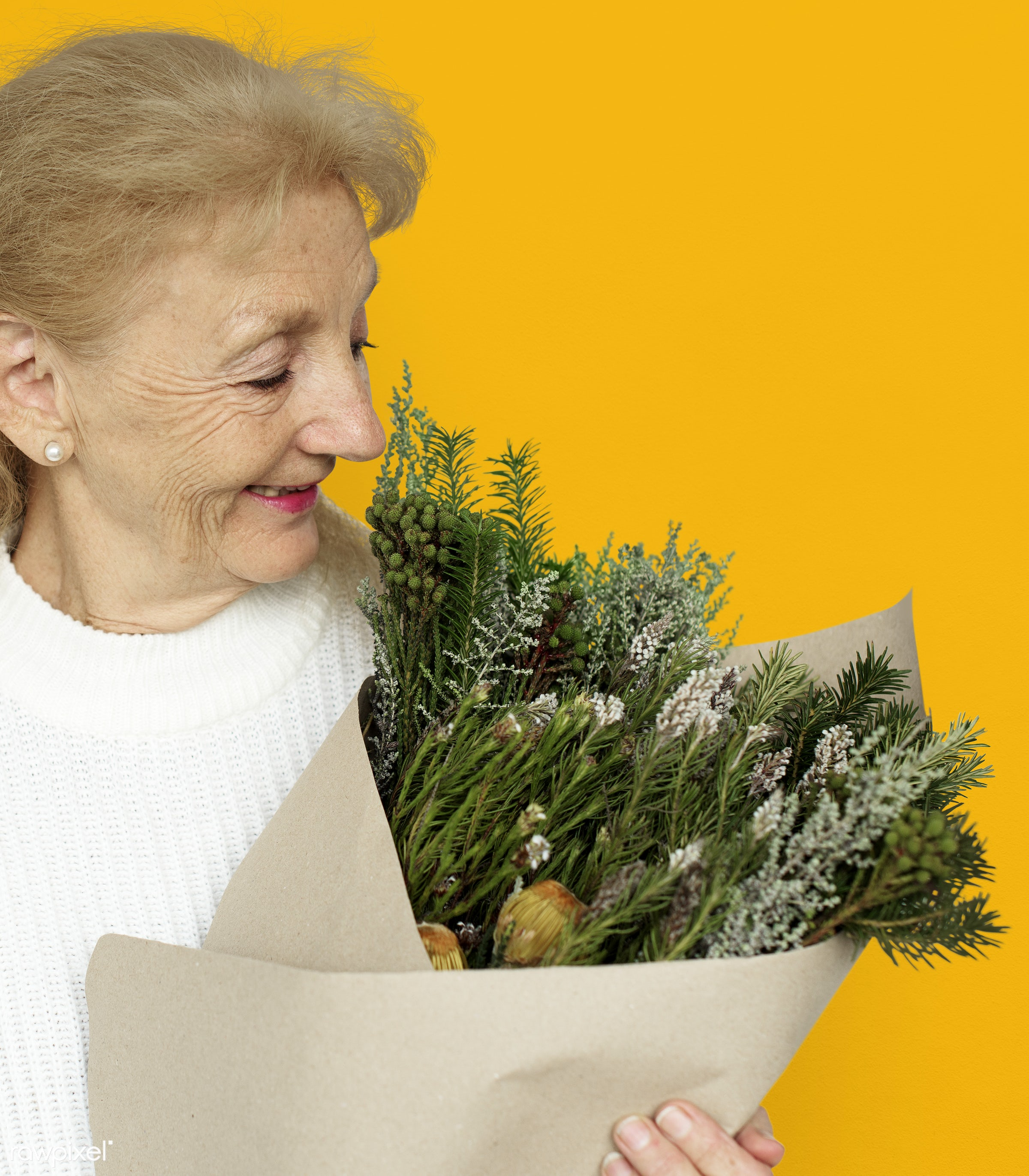 studio, expression, bouquet, person, yellow, people, woman, smile, cheerful, flower, smiling, orange, isolated, happiness,...