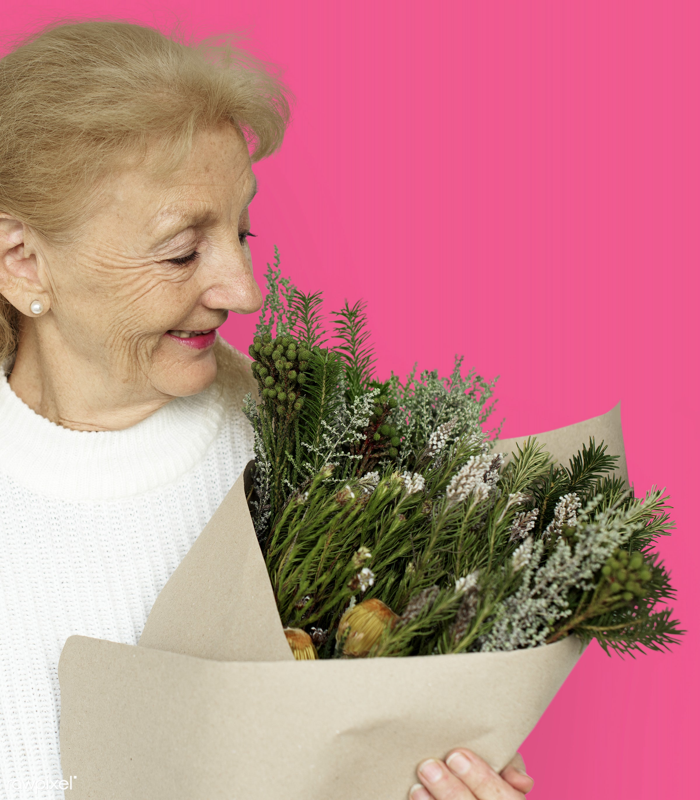 studio, expression, bouquet, person, people, woman, pink, smile, cheerful, flower, smiling, isolated, happiness, portrait,...