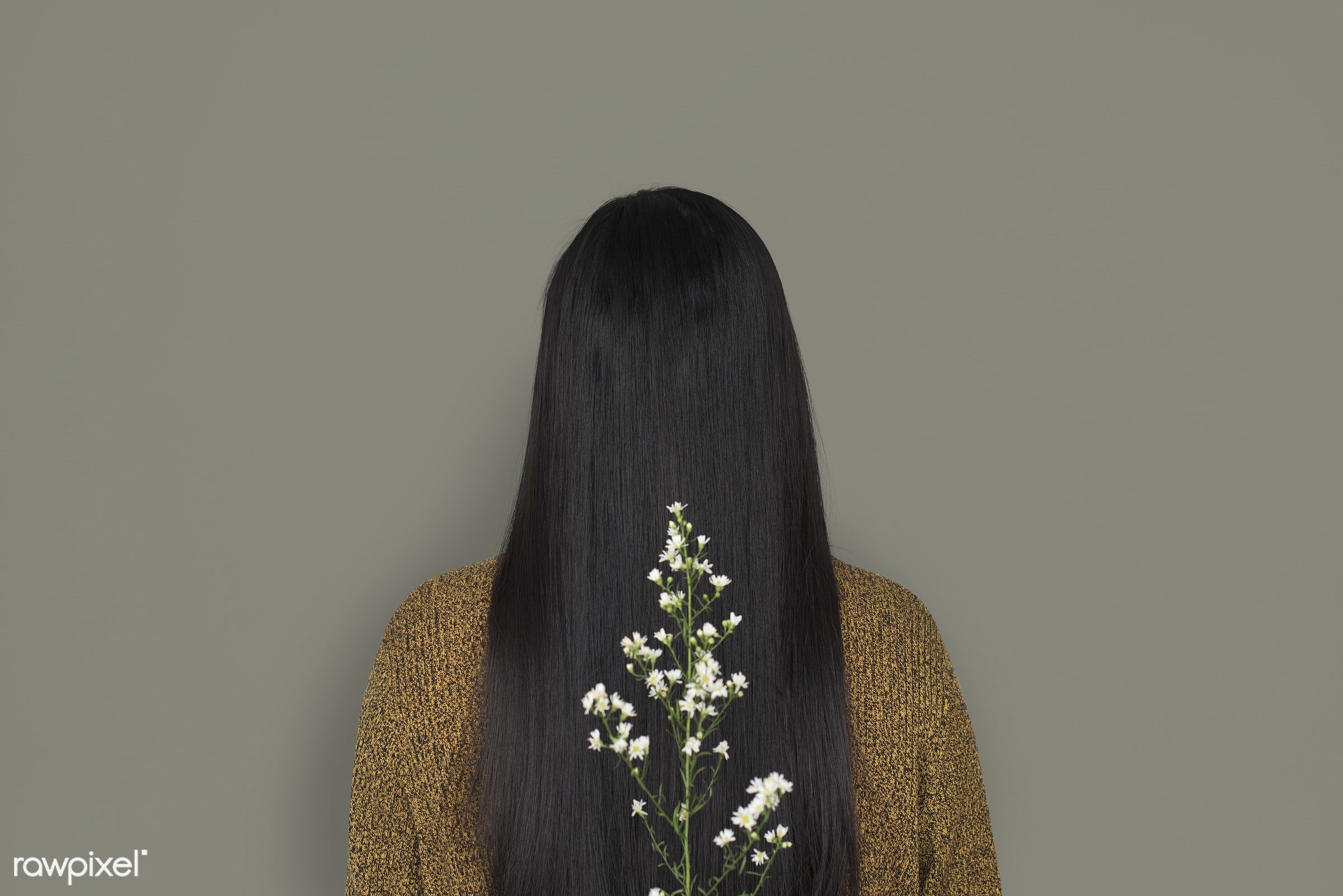studio, person, people, girl, woman, casual, grey, flower, rear view, isolated, flora, long hair, adult, portrait, charming...