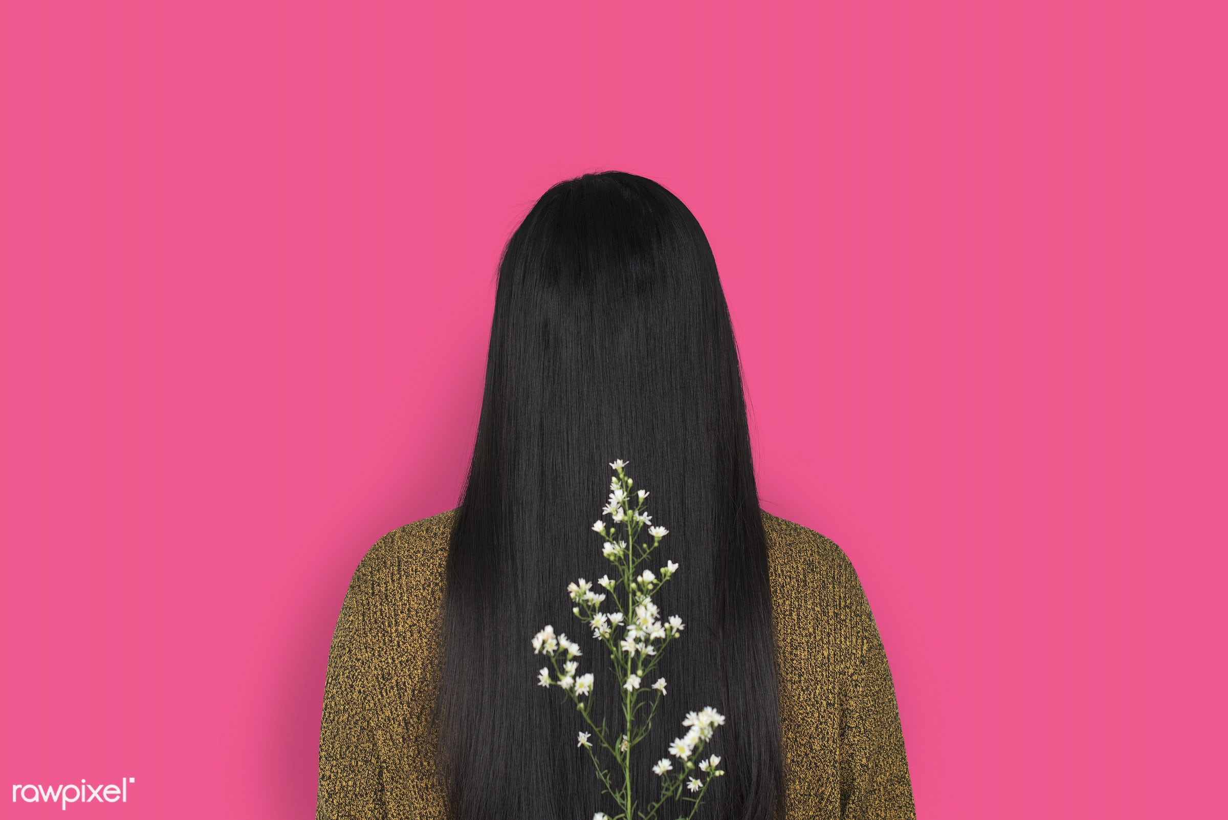 studio, person, people, girl, woman, casual, pink, flower, rear view, isolated, flora, long hair, adult, portrait, charming...