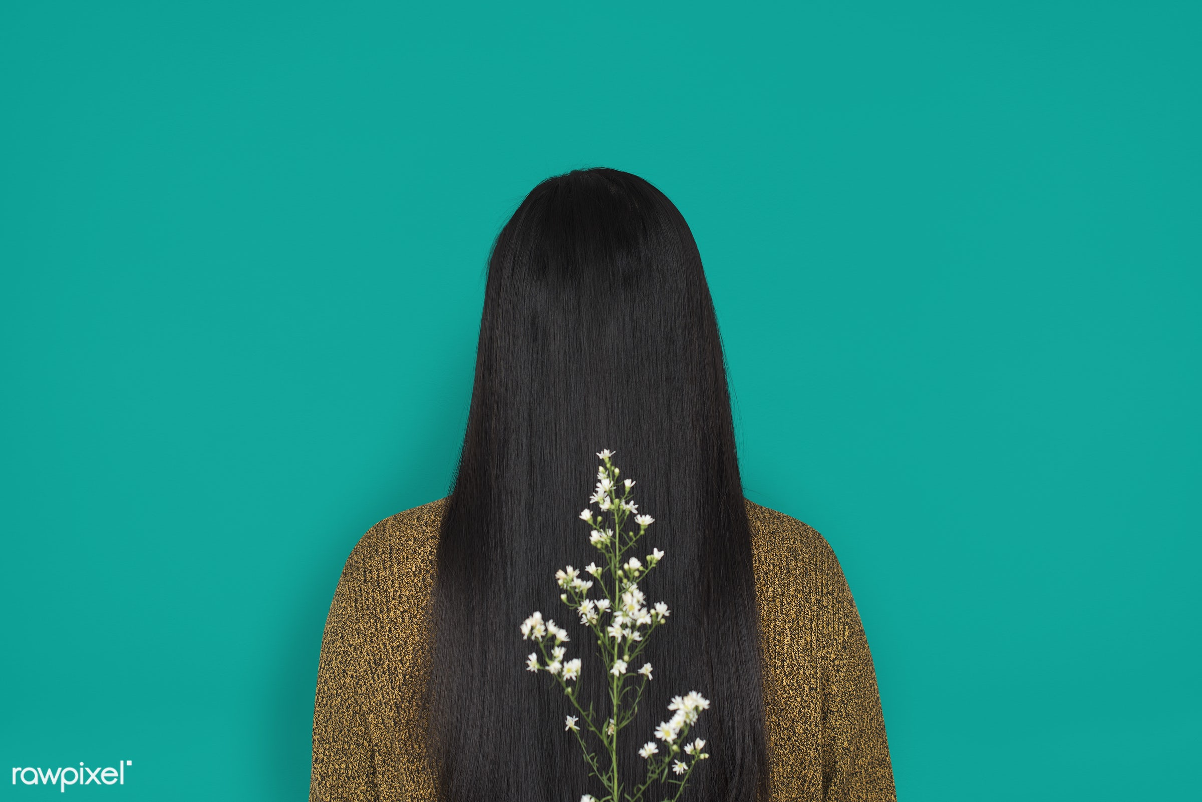 studio, person, people, girl, woman, casual, flower, rear view, isolated, flora, green, long hair, adult, portrait, charming...