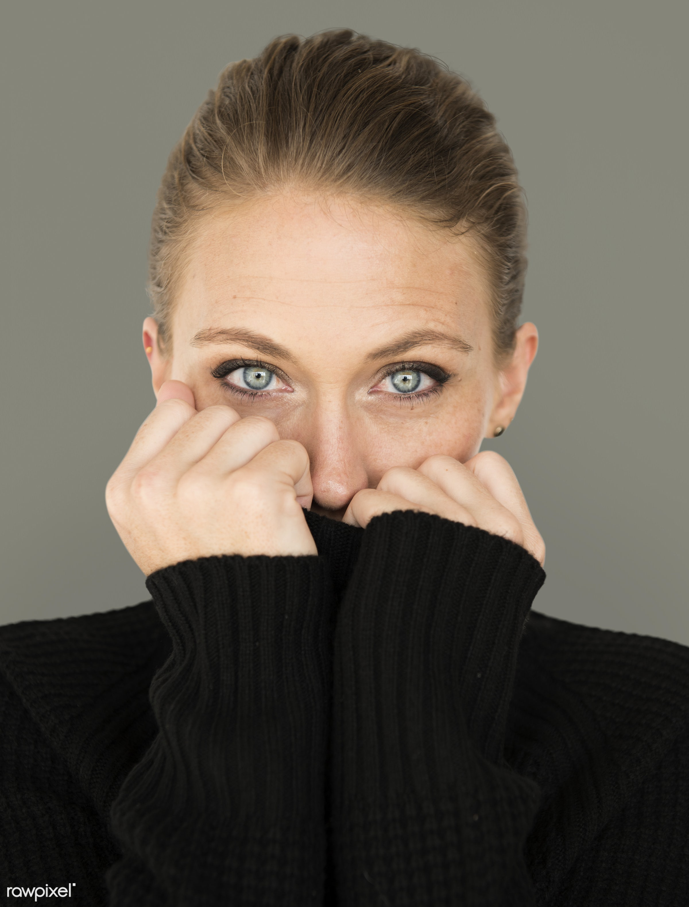 adult, background, beauty, cardigan, casual, charming, cold, cute, emotion, emotional, expression, face, female, girl, grey...