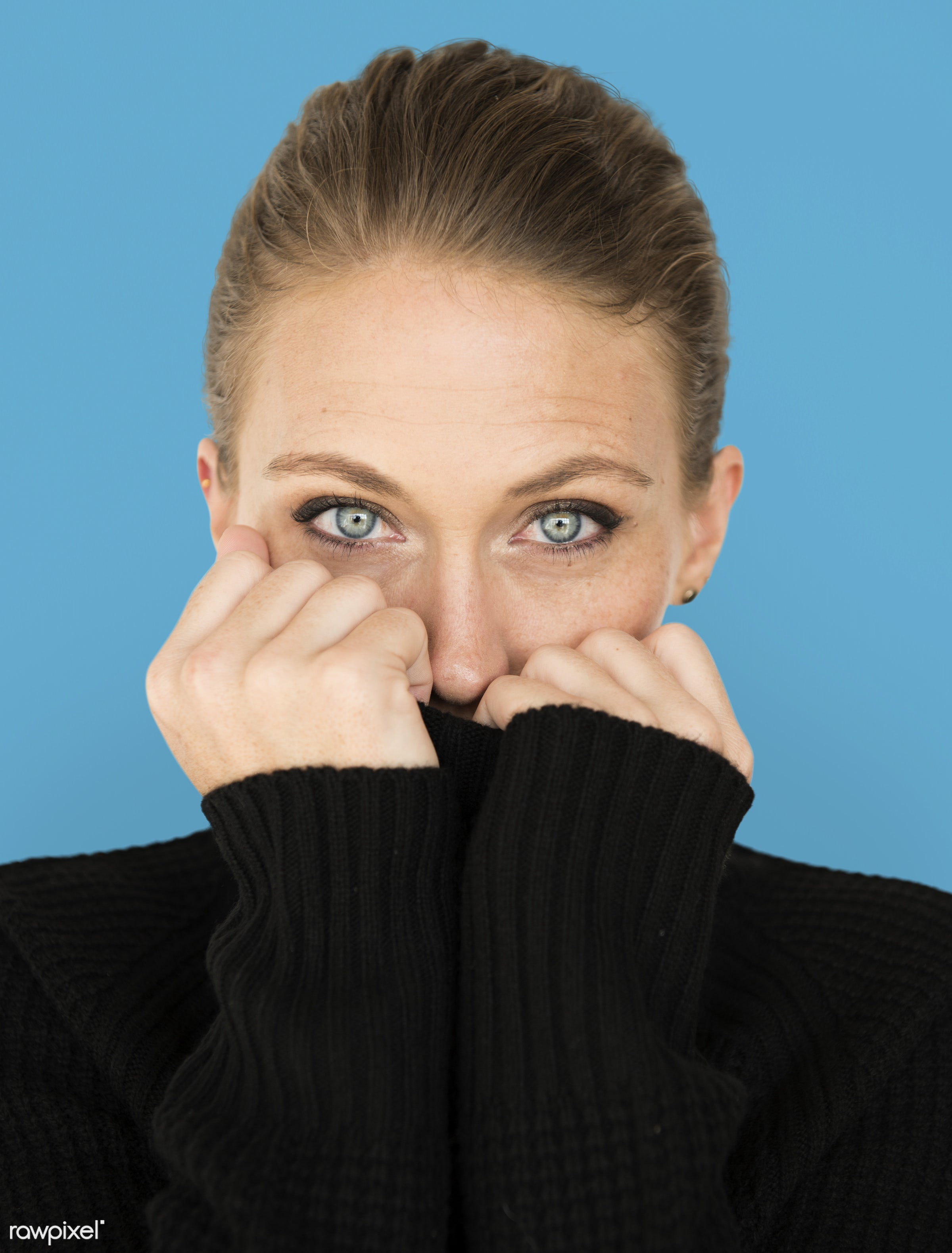 adult, background, beauty, blue, cardigan, casual, charming, cold, cute, emotion, emotional, expression, face, female, girl...
