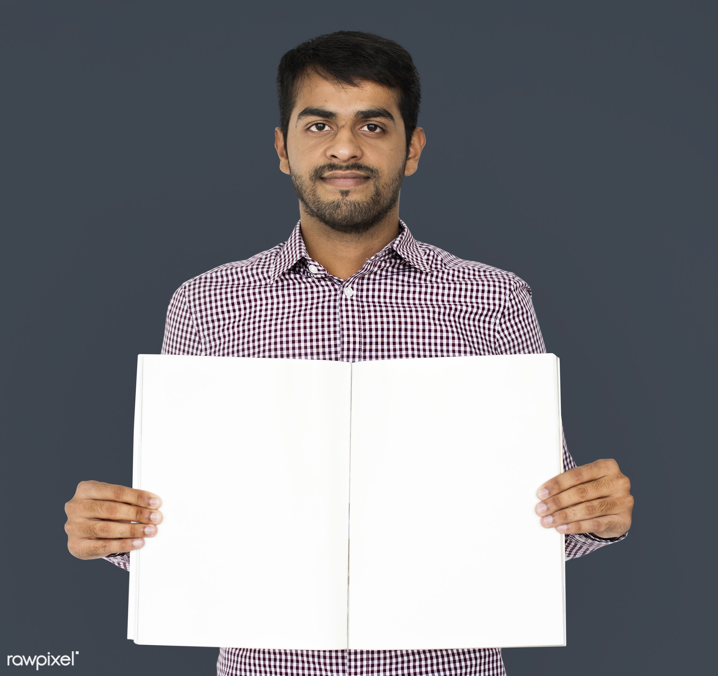 expression, studio, model, person, holding, copyspace, paper, advertising, people, asian, casual, empty, showing, sheet, man...