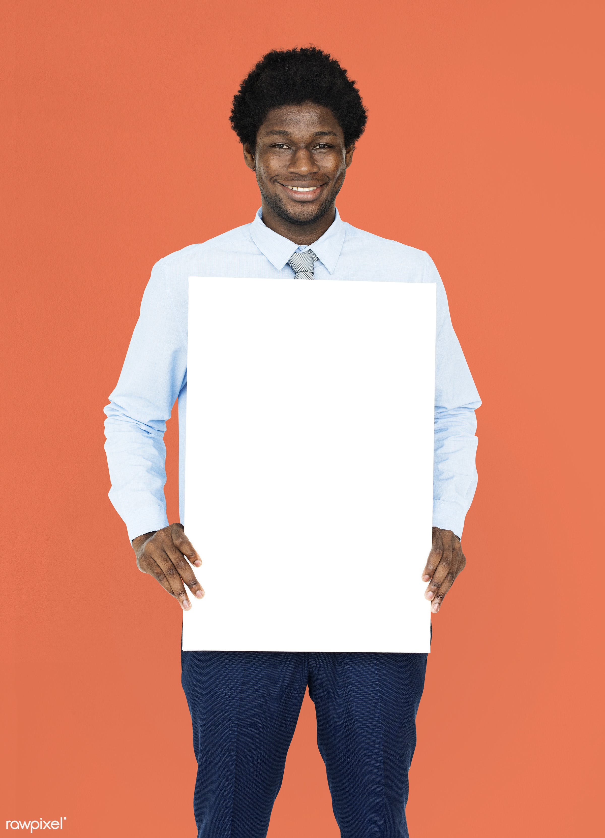 studio, expression, person, white collar worker, holding, people, empty, cheerful, black, smiling, isolated, african descent...