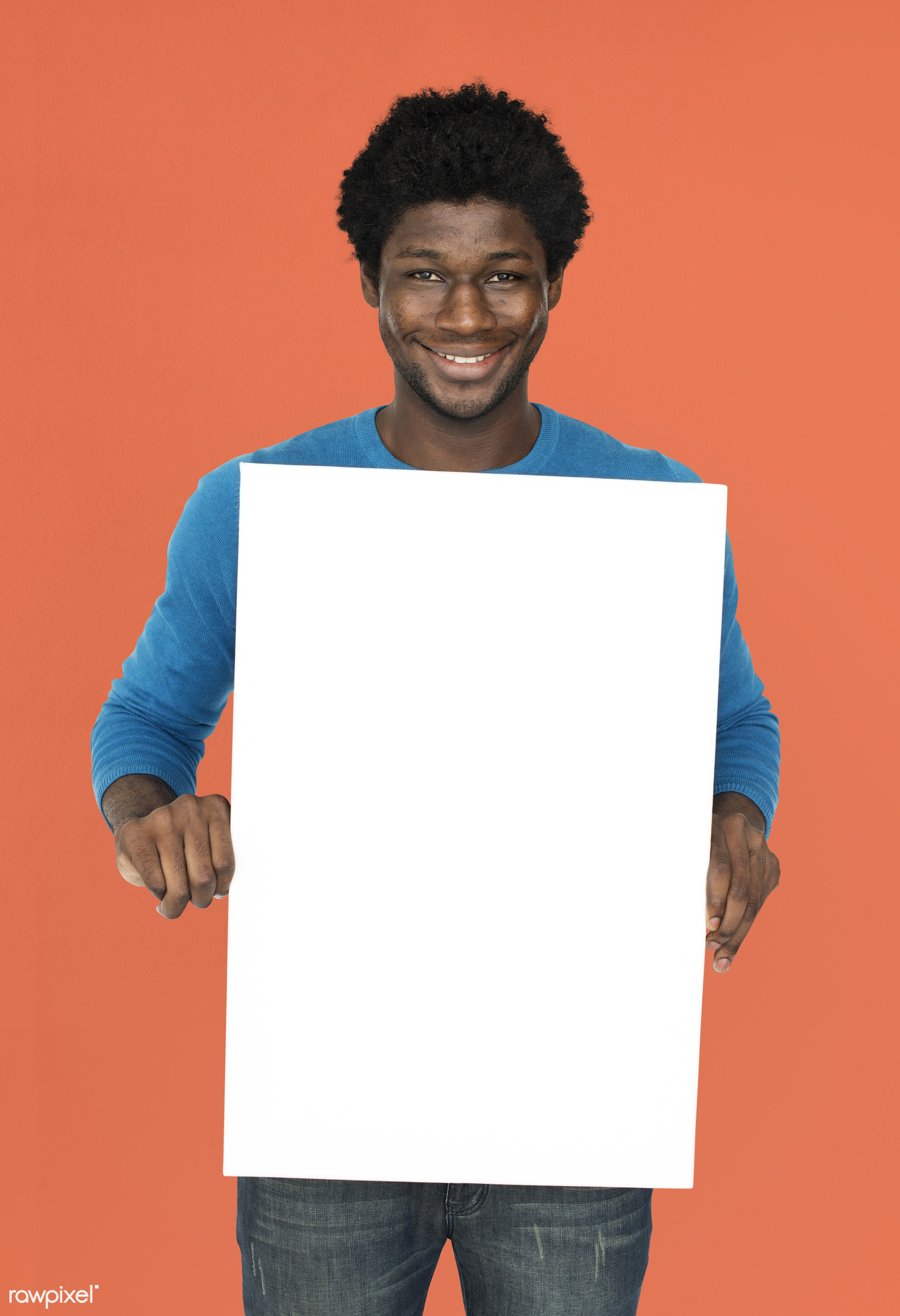 studio, expression, person, holding, people, empty, cheerful, smiling, black, isolated, african descent, white, happiness,...