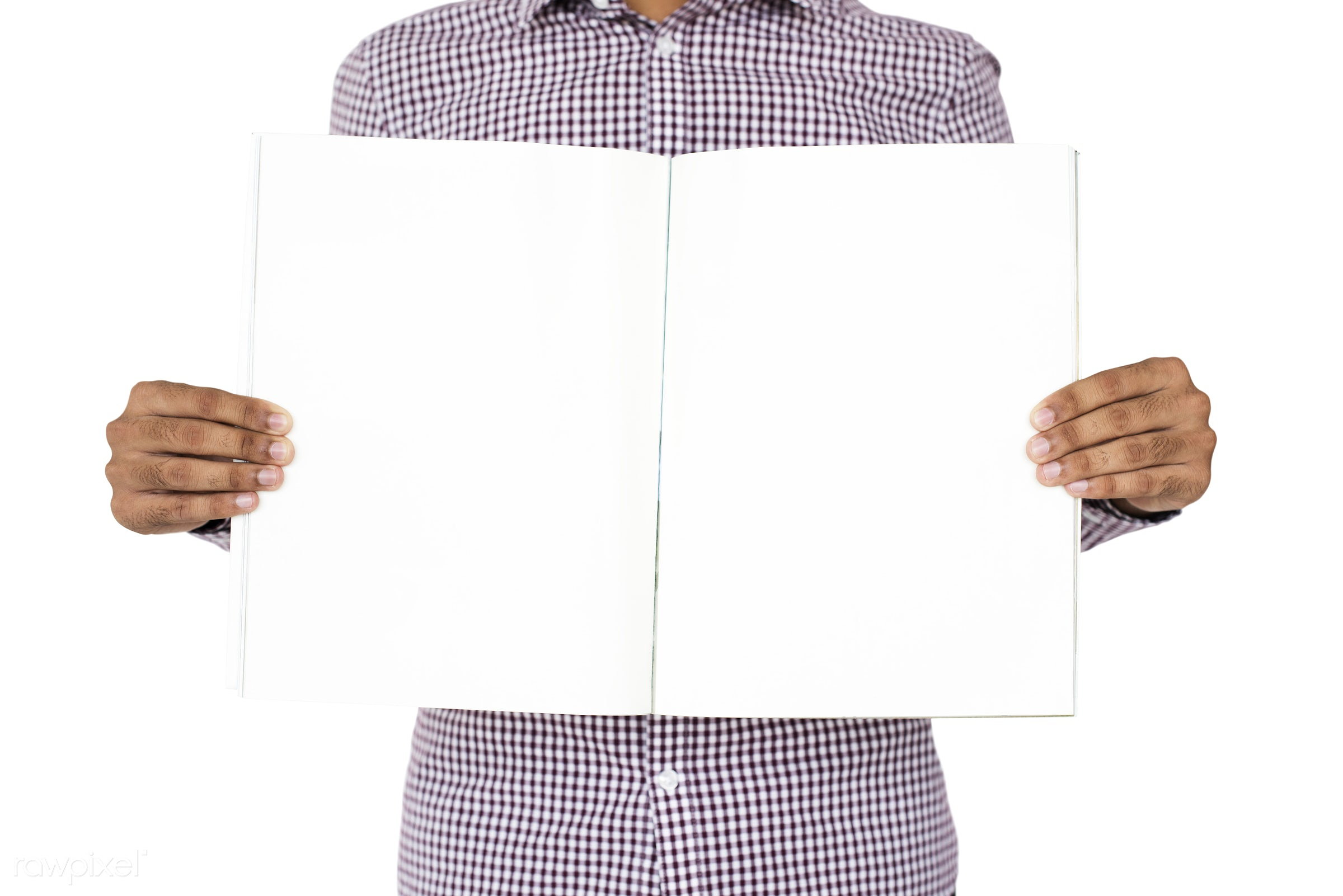 expression, studio, model, person, copyspace, holding, paper, isolated on white, advertising, people, empty, showing, man,...