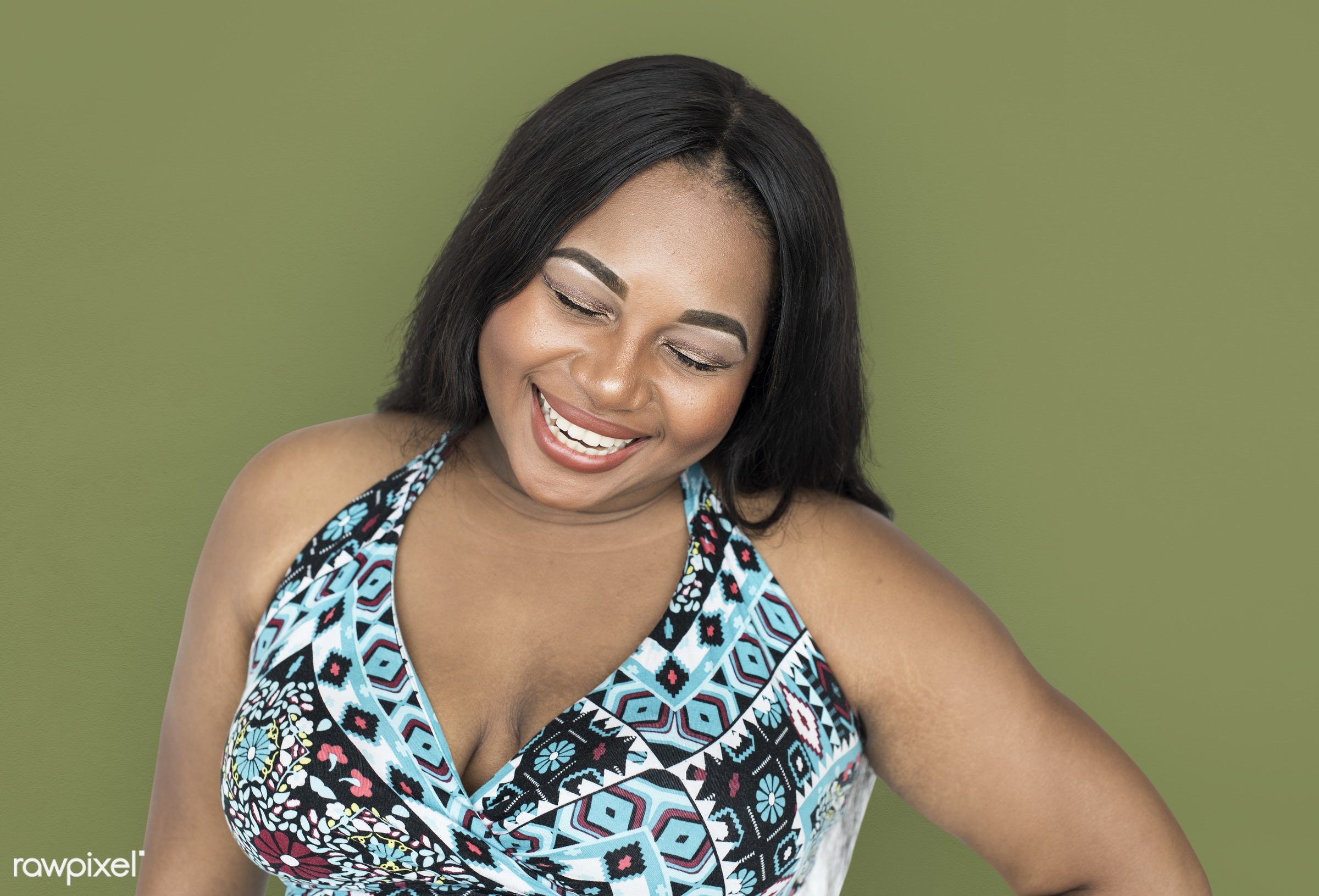 studio, expression, model, person, freedom, african ethnicity, relax, chubby, optimistic, people, laughing, woman, casual,...