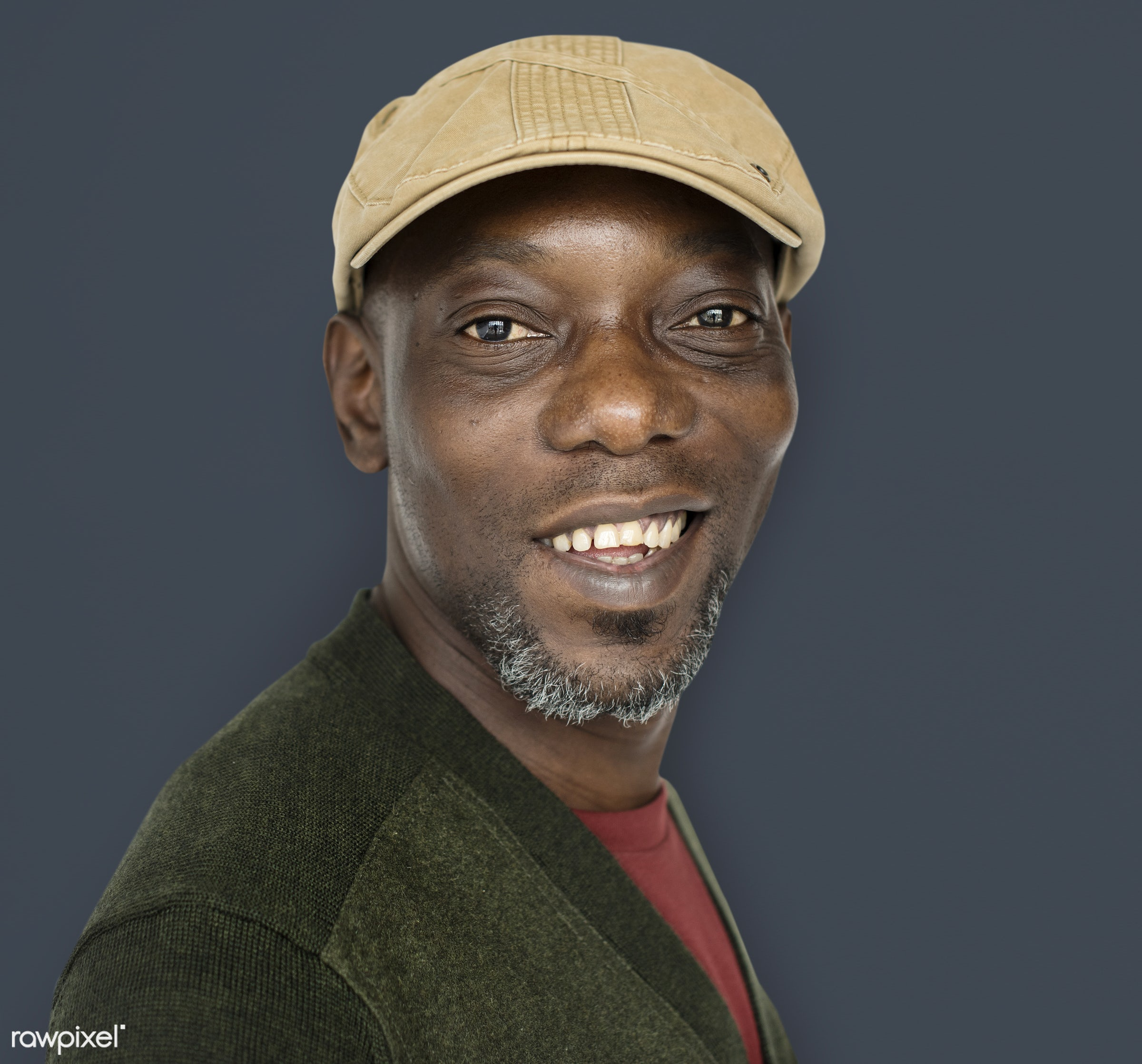 expression, old, person, joy, wearing hat, people, hat, joyous, happy, smile, cheerful, smiling, man, black, isolated,...