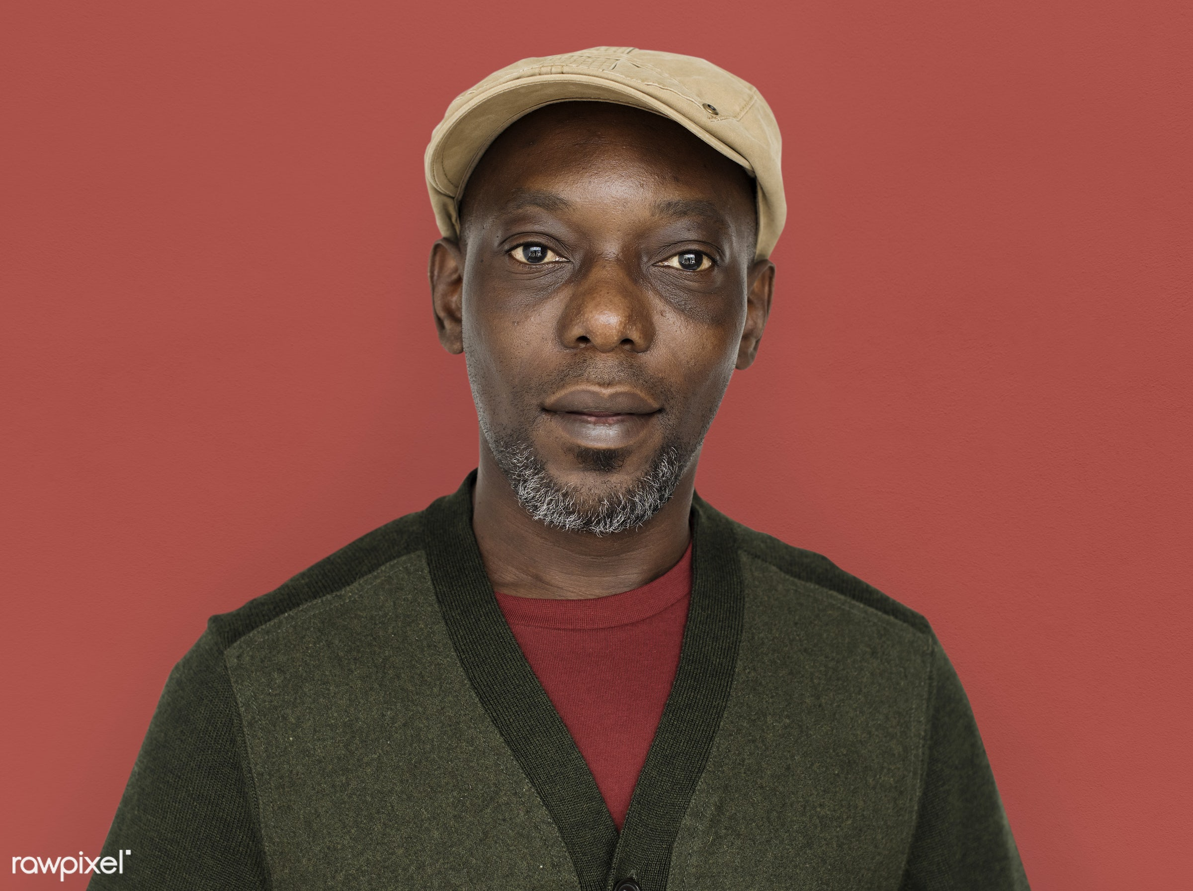 expression, old, person, wearing hat, people, hat, casual, smile, cheerful, smiling, man, black, isolated, african descent,...