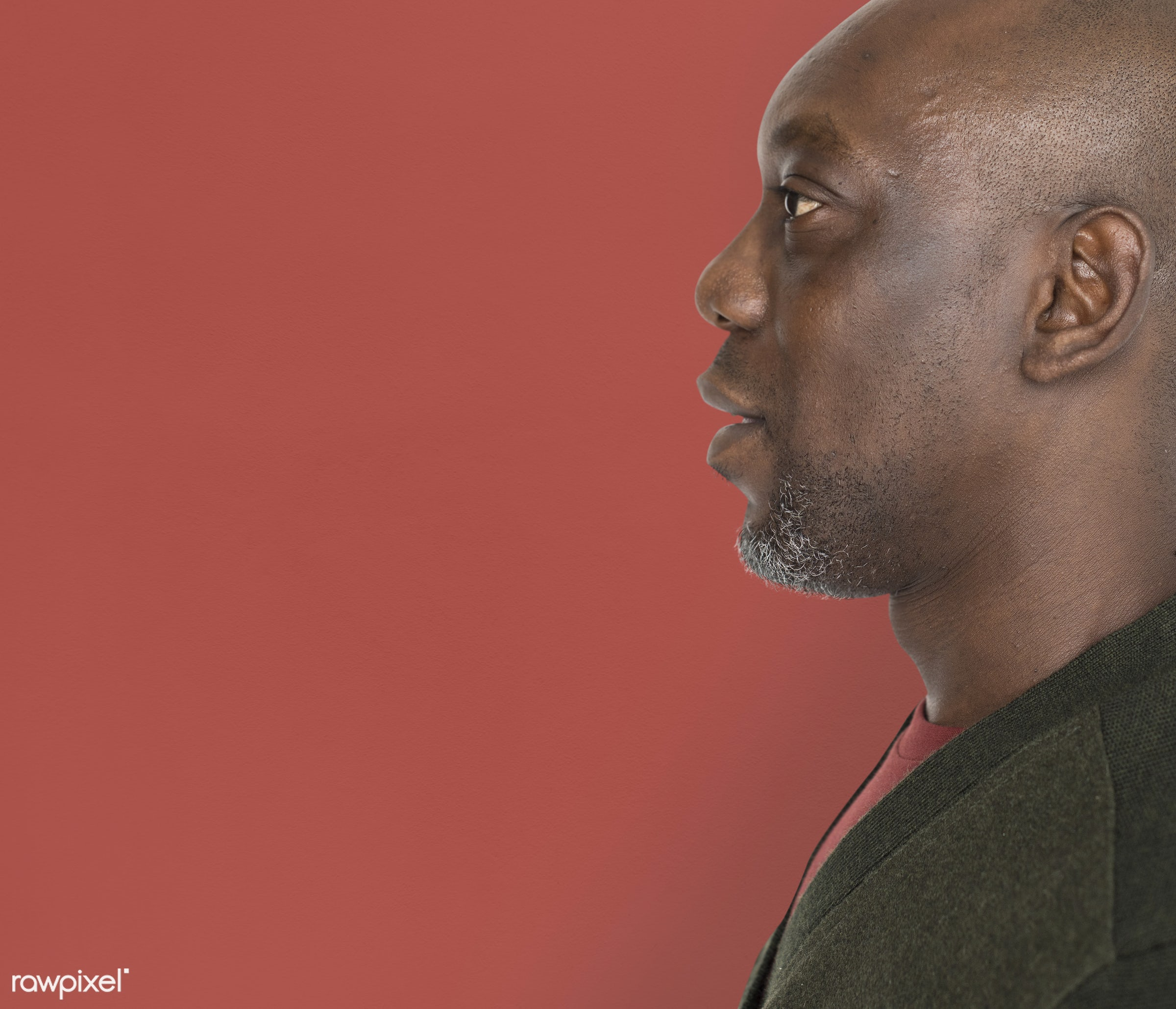 expression, person, side view, people, side, casual, side facing, man, black, casual dressing, cool, isolated, african...
