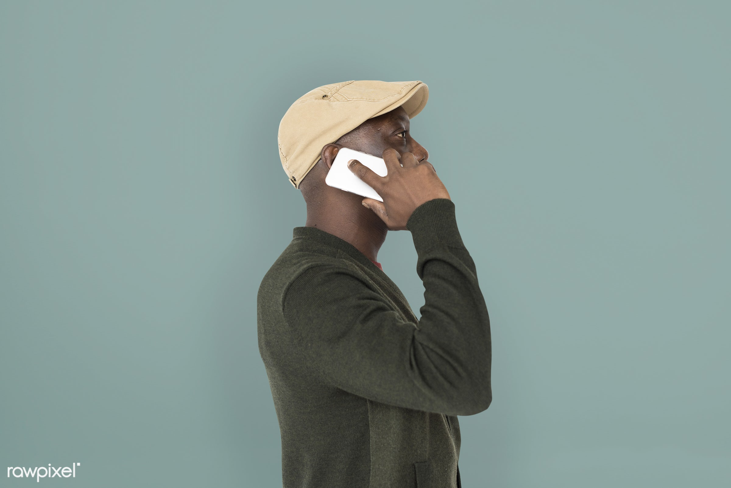 expression, person, phone, side view, people, telecommunication, casual, mobile phone, serious, man, black, casual dressing...