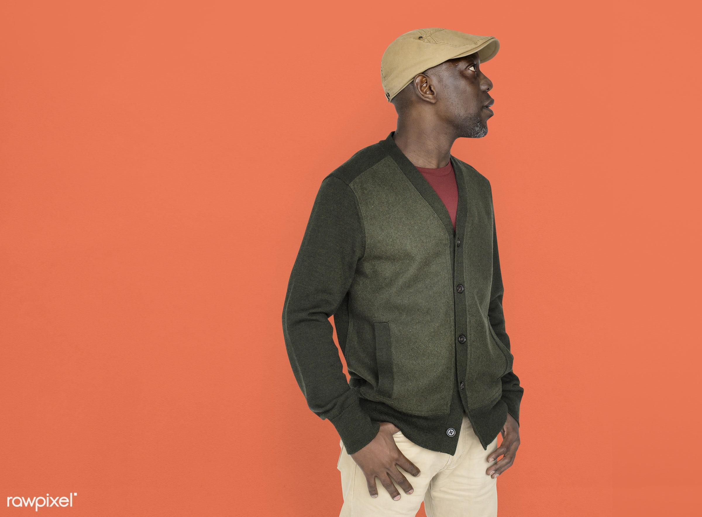 expression, person, side view, wearing hat, people, hat, pose, casual, man, black, casual dressing, cool, isolated, african...