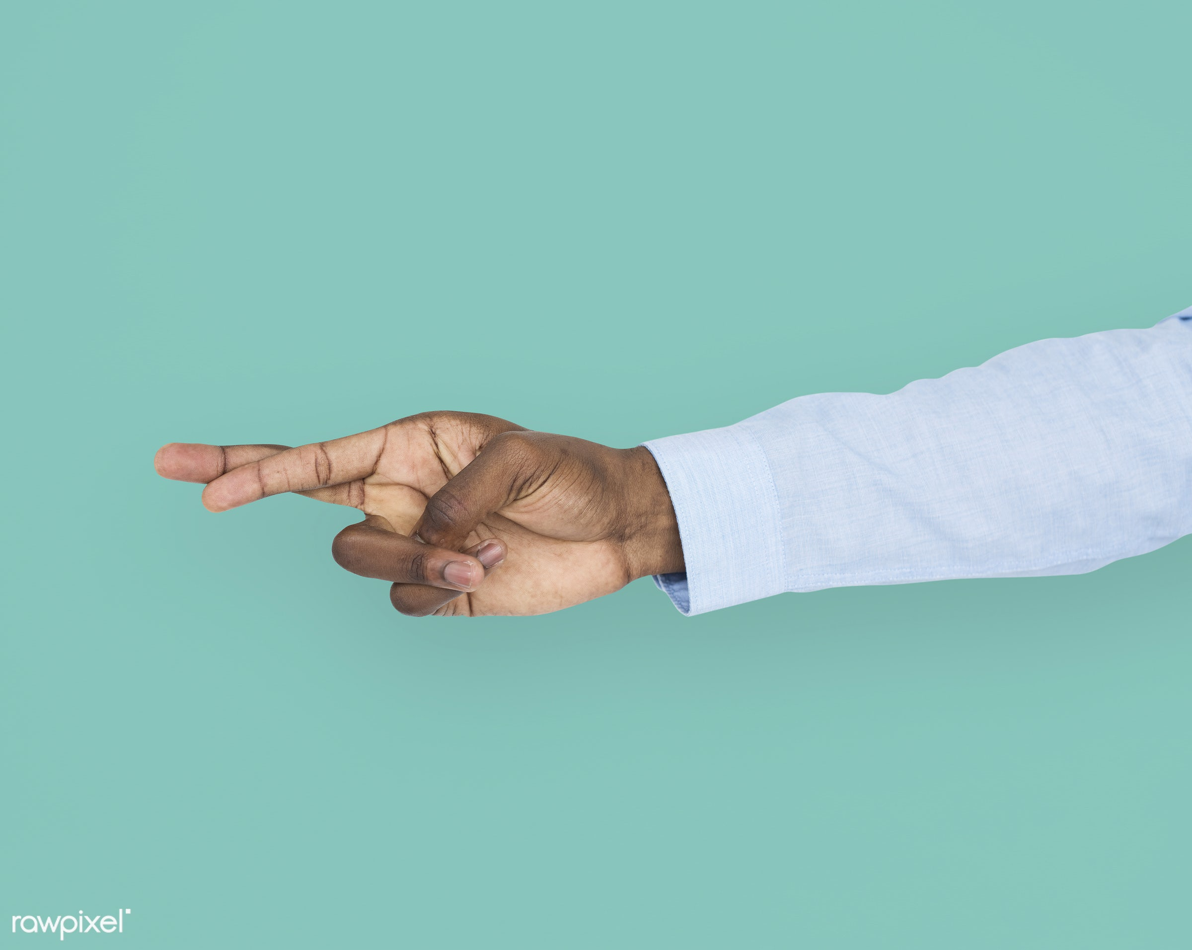 person, cut-out, race, hand, untruth, dishonesty, showing, isolated, african descent, green, luck, gesture, finger, fingers...
