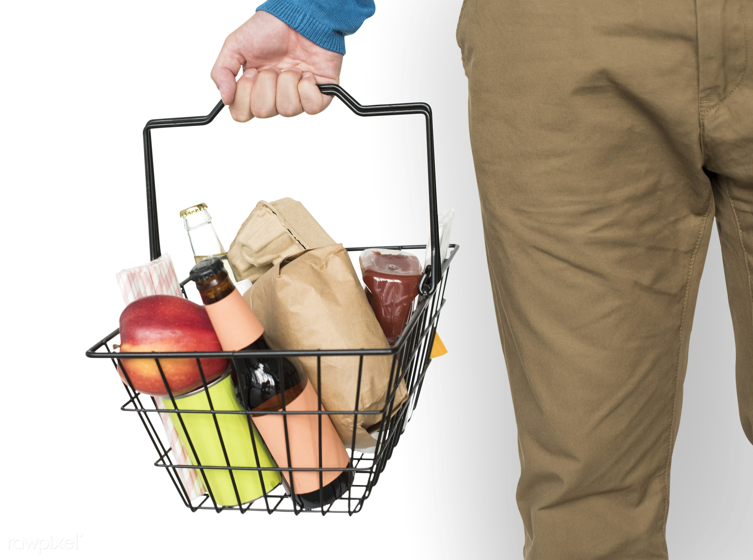 expression, grocery, studio, model, supermarket, person, merchandise, store, holding, isolated on white, consumer, customer...