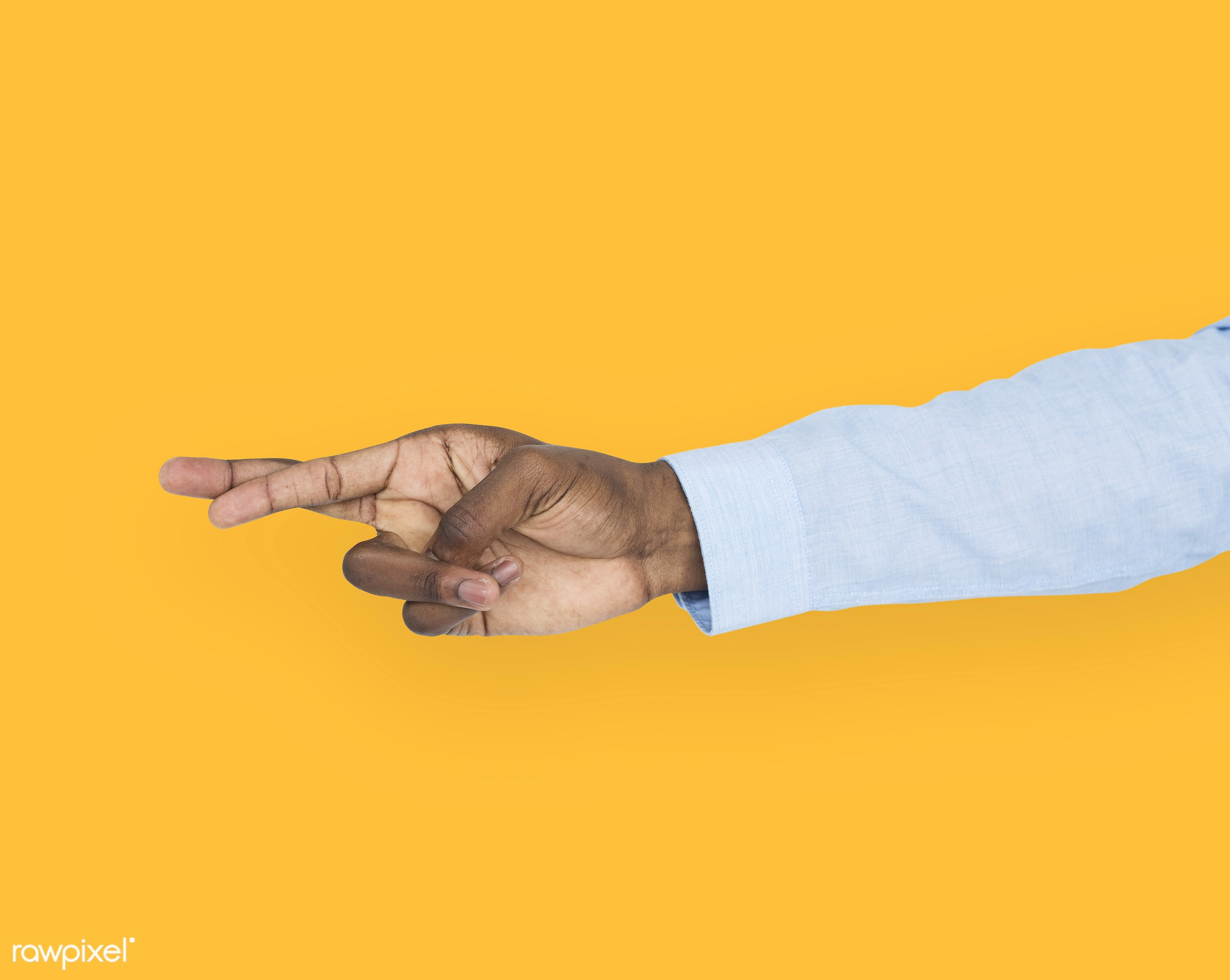 person, cut-out, yellow, race, hand, untruth, dishonesty, showing, isolated, african descent, luck, gesture, finger, fingers...