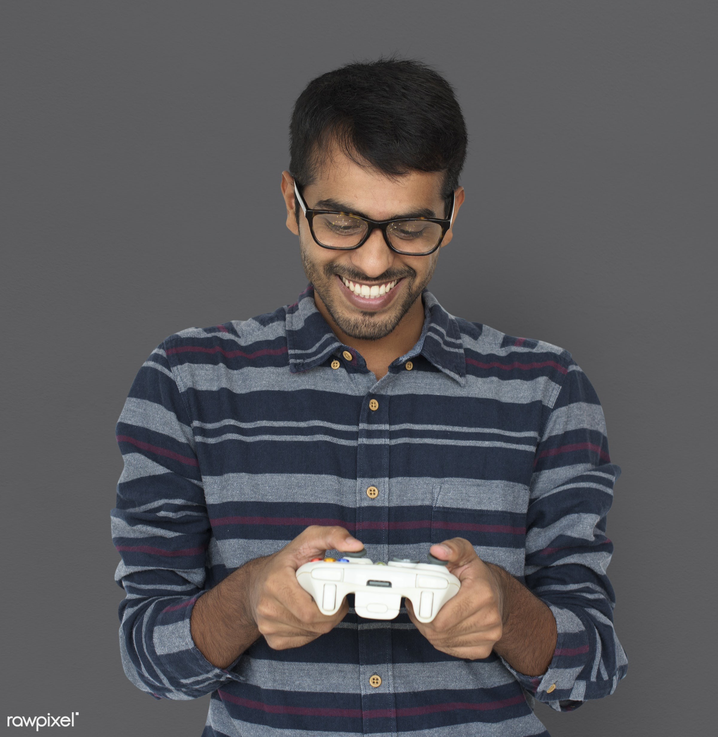 studio, expression, person, holding, remote, people, asian, lifestyle, positive, smile, cheerful, isolated, happiness, fun,...