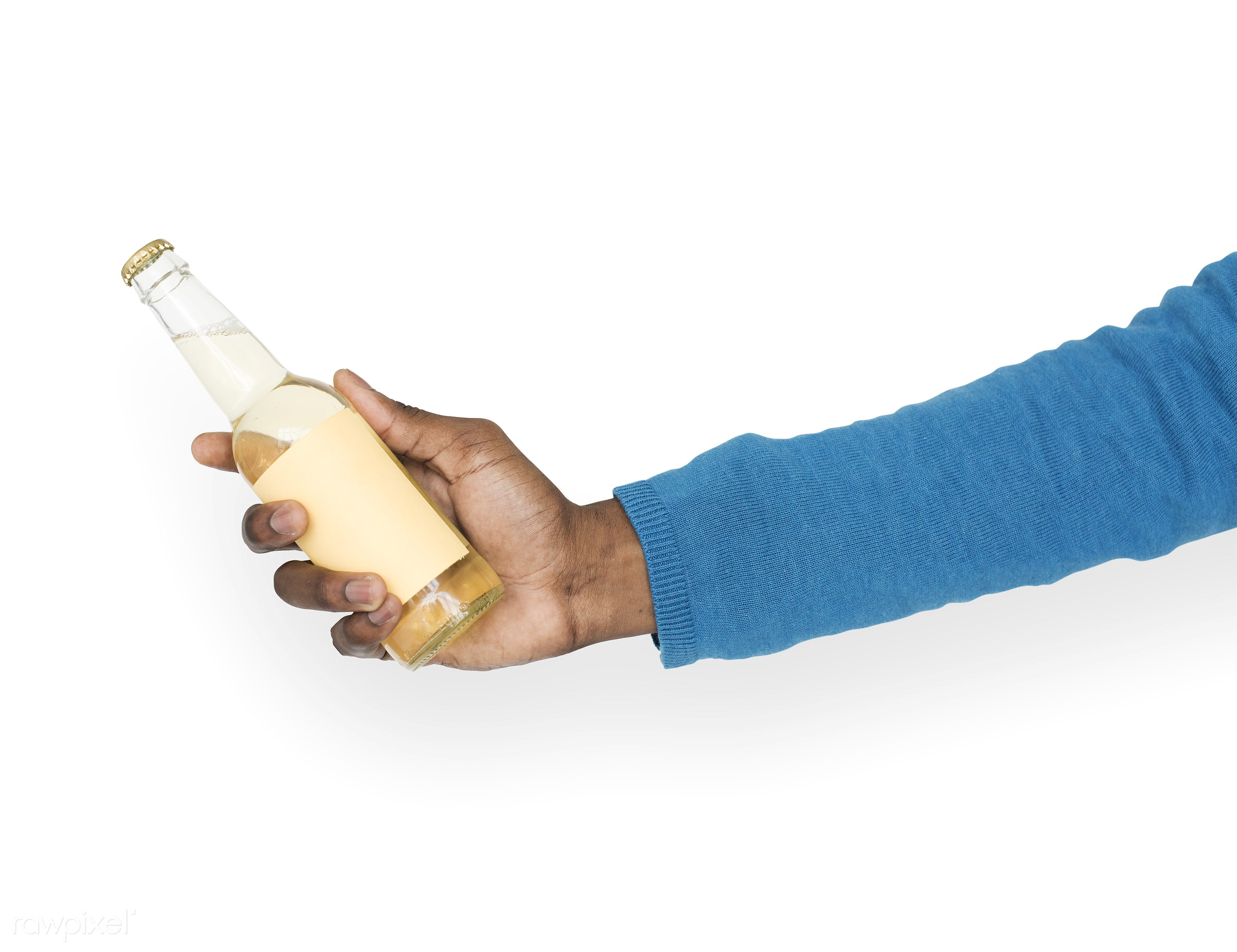 person, isolated on white, party, race, hand, beer, cold, showing, celebrate, isolated, african descent, refreshment,...