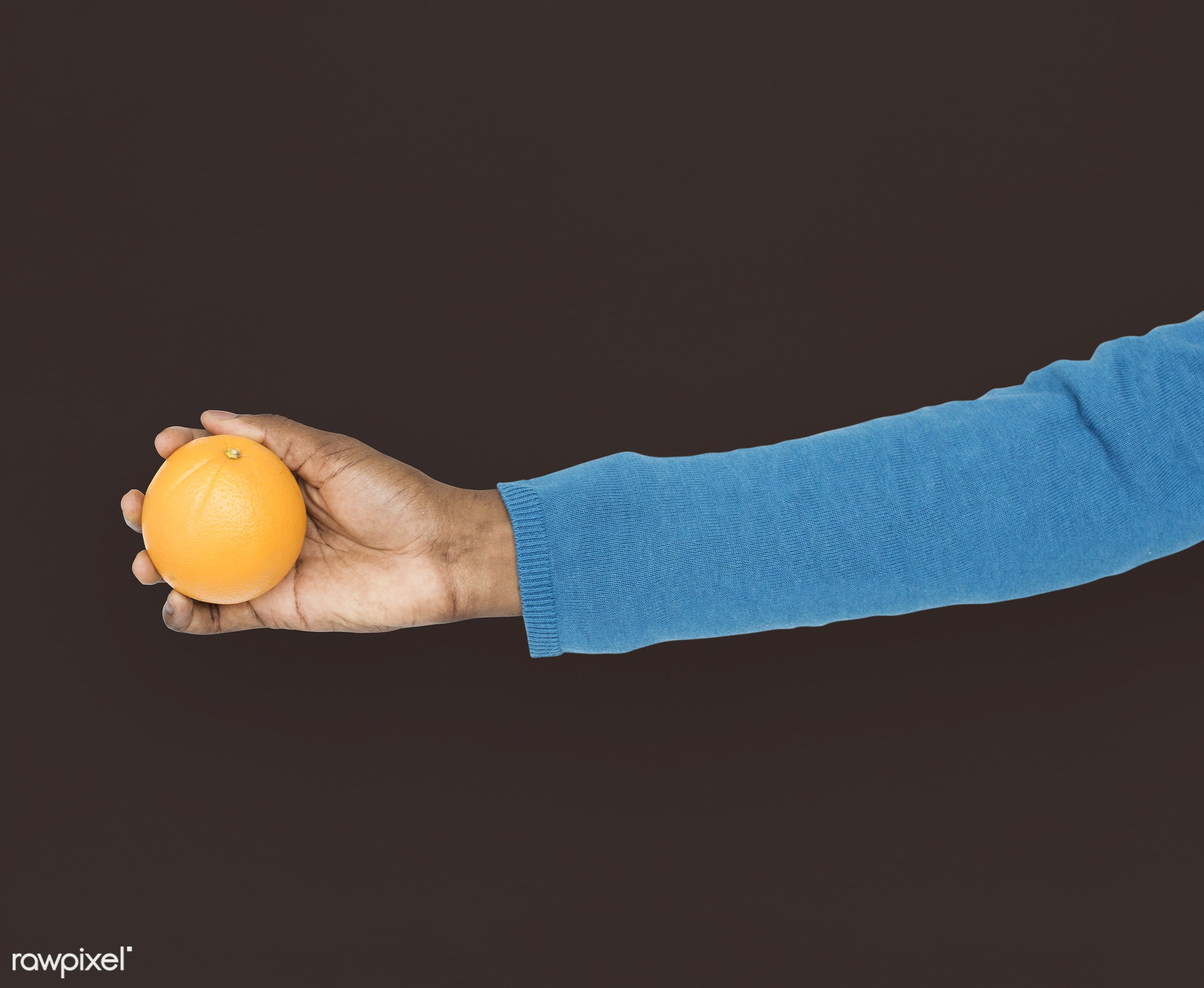 person, diet, race, hand, nature, wellness, lifestyle, showing, black, orange, isolated, fruit, african descent, gesture,...