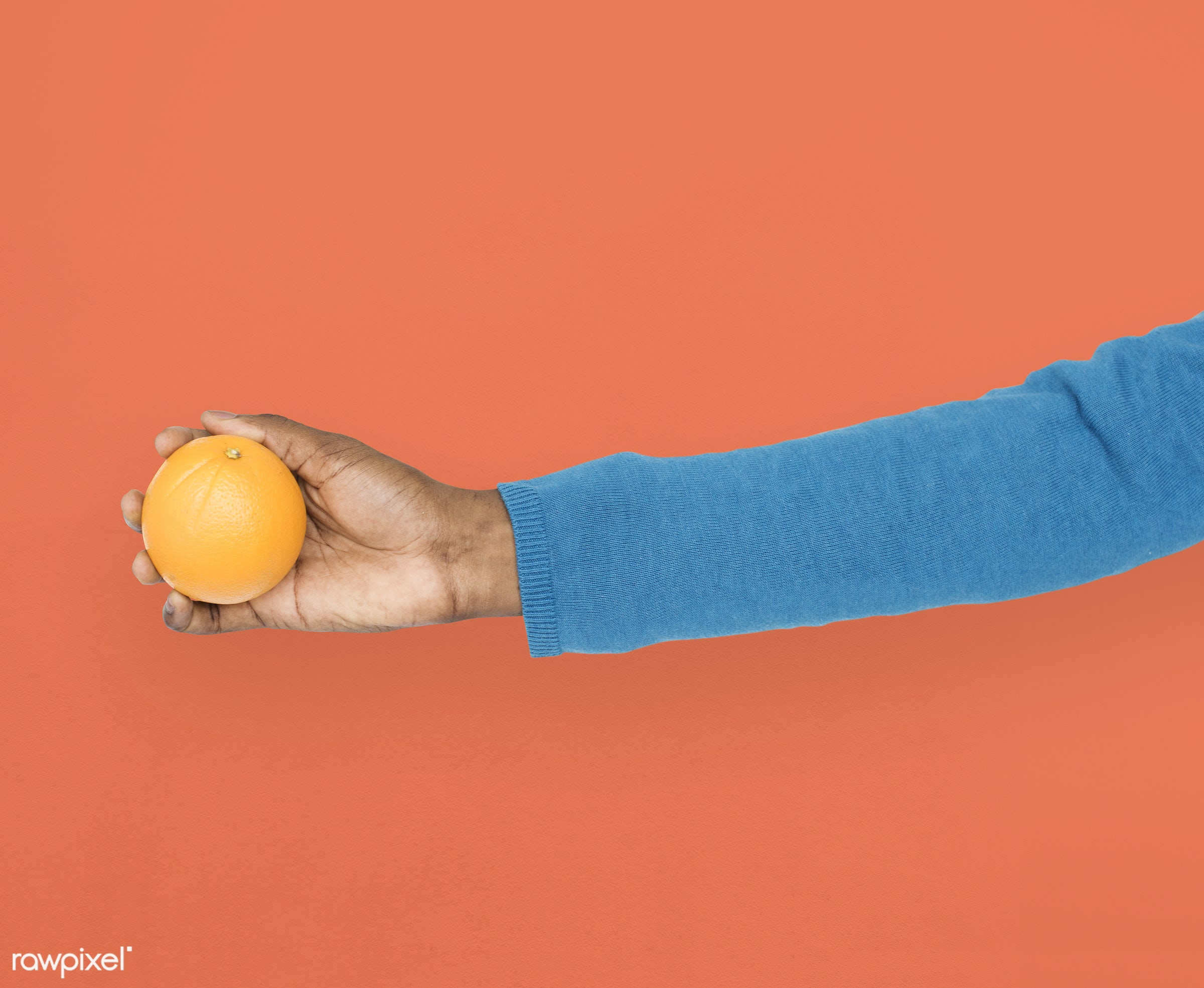 person, diet, race, hand, nature, wellness, lifestyle, showing, orange, isolated, fruit, african descent, gesture, human,...